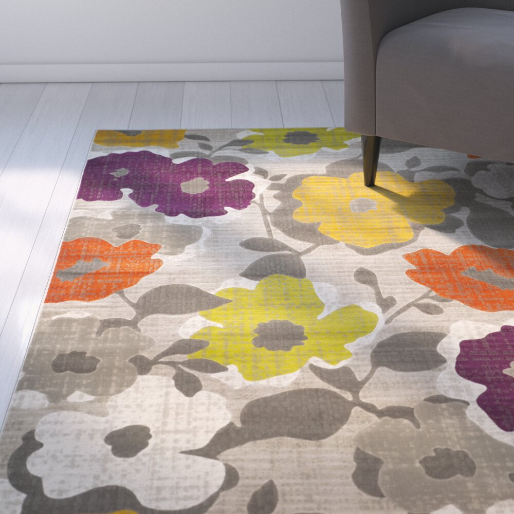 Bath Rugs Yellow Grey: Zipcode™ Design Nanette Grey / Yellow Floral And Plant Rug