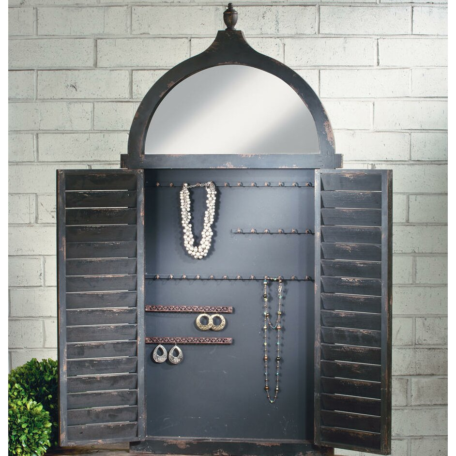 Tripar Shutter Wall Mounted Jewelry Armoire with Mirror ...
