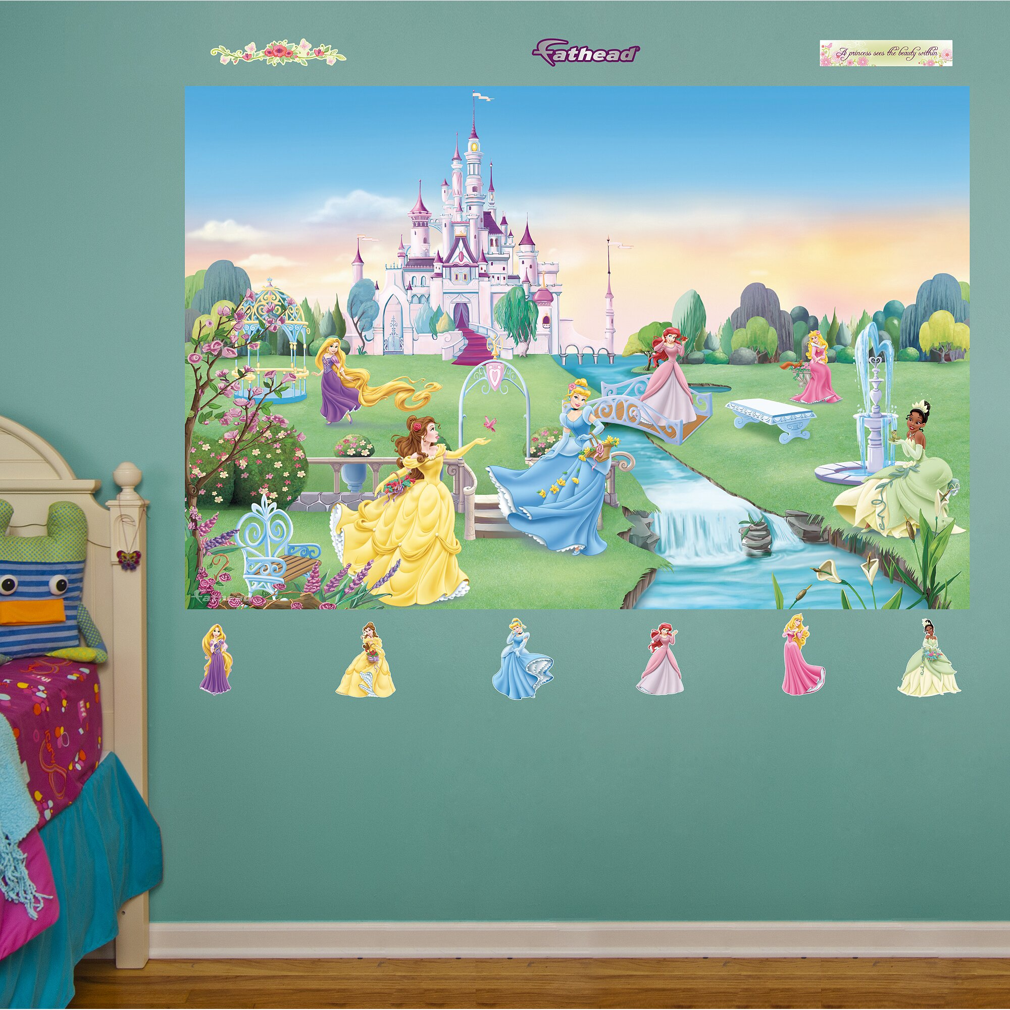 Fathead disney princess wall mural reviews wayfair for Disney princess mural asda