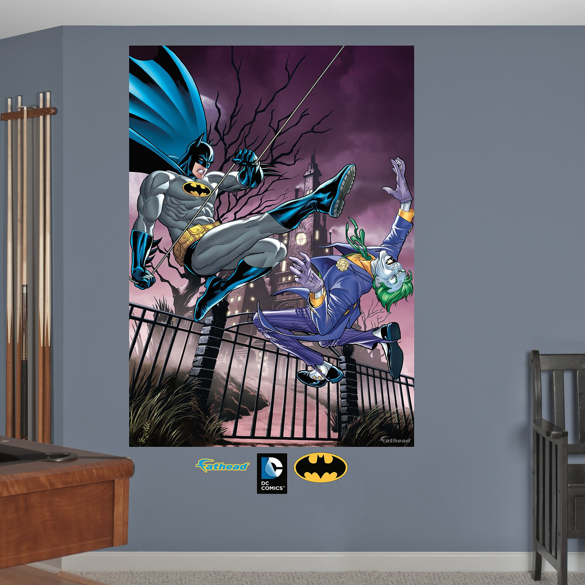 Fathead dc comics batman and the joker battle peel and for Batman wall mural decal