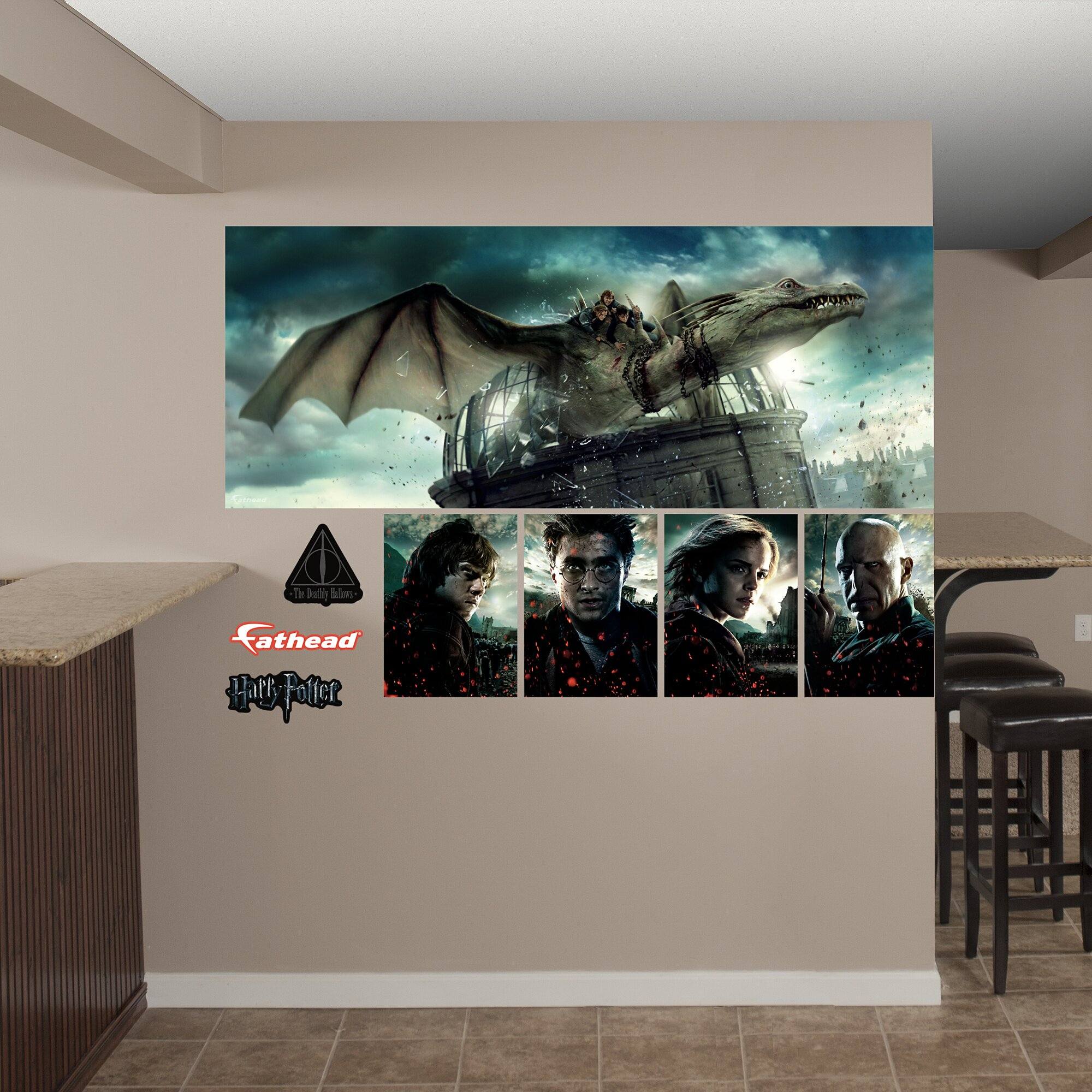 Fathead harry potter deathly hallows dragon peel and stick for Dragon mural for wall