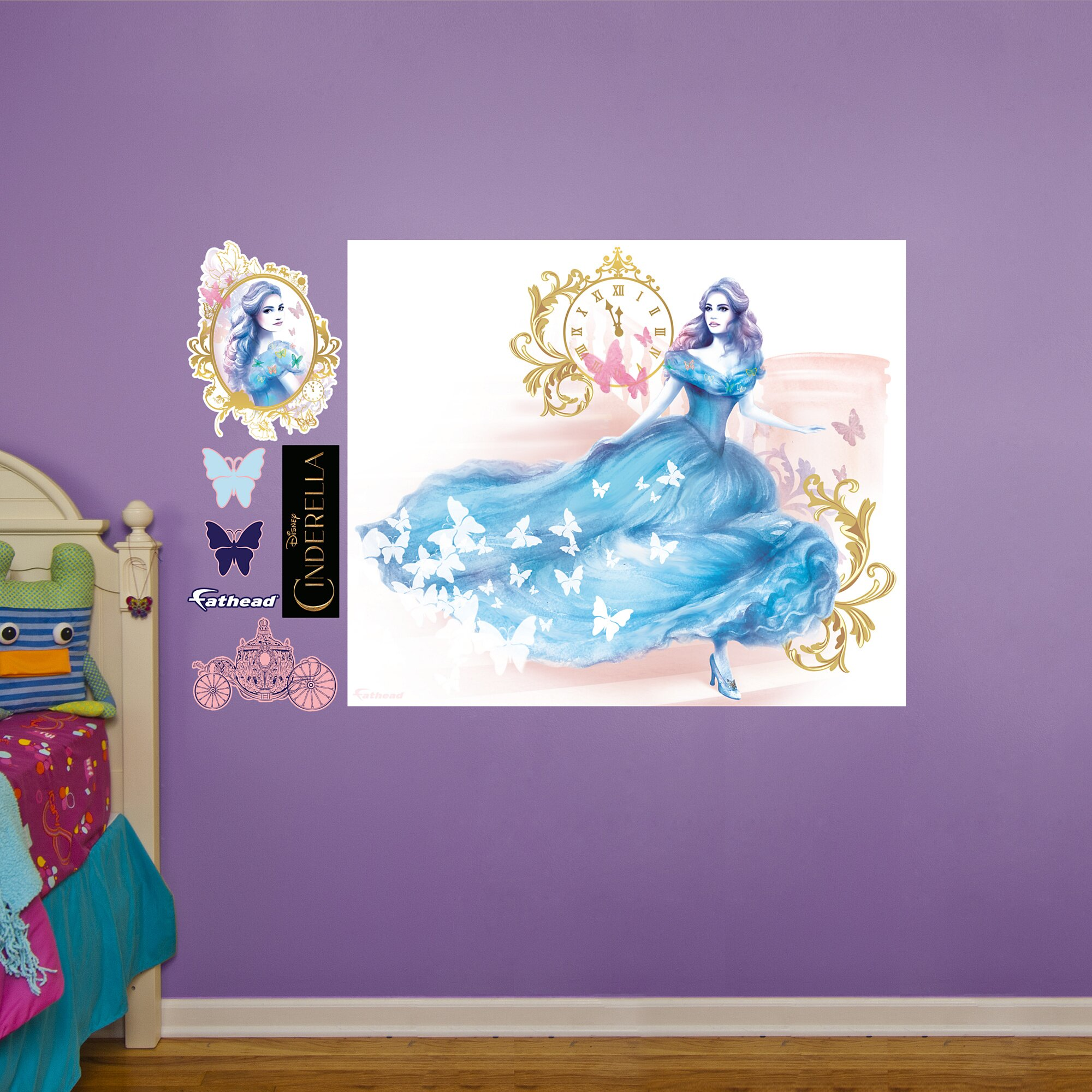 fathead disney cinderella movie peel and stick wall mural castles and rainbow wall mural cinderella princess bedding