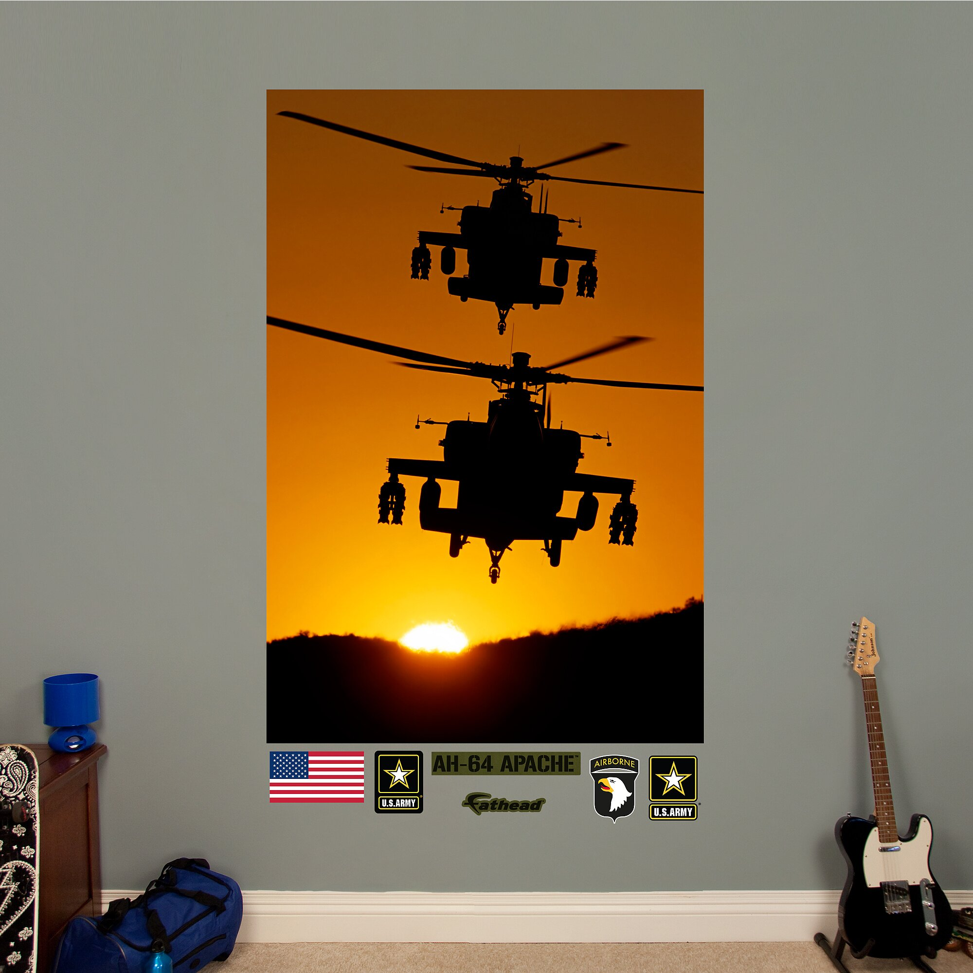 Fathead united states army ah 64 apache silhouettes peel for Army wallpaper mural