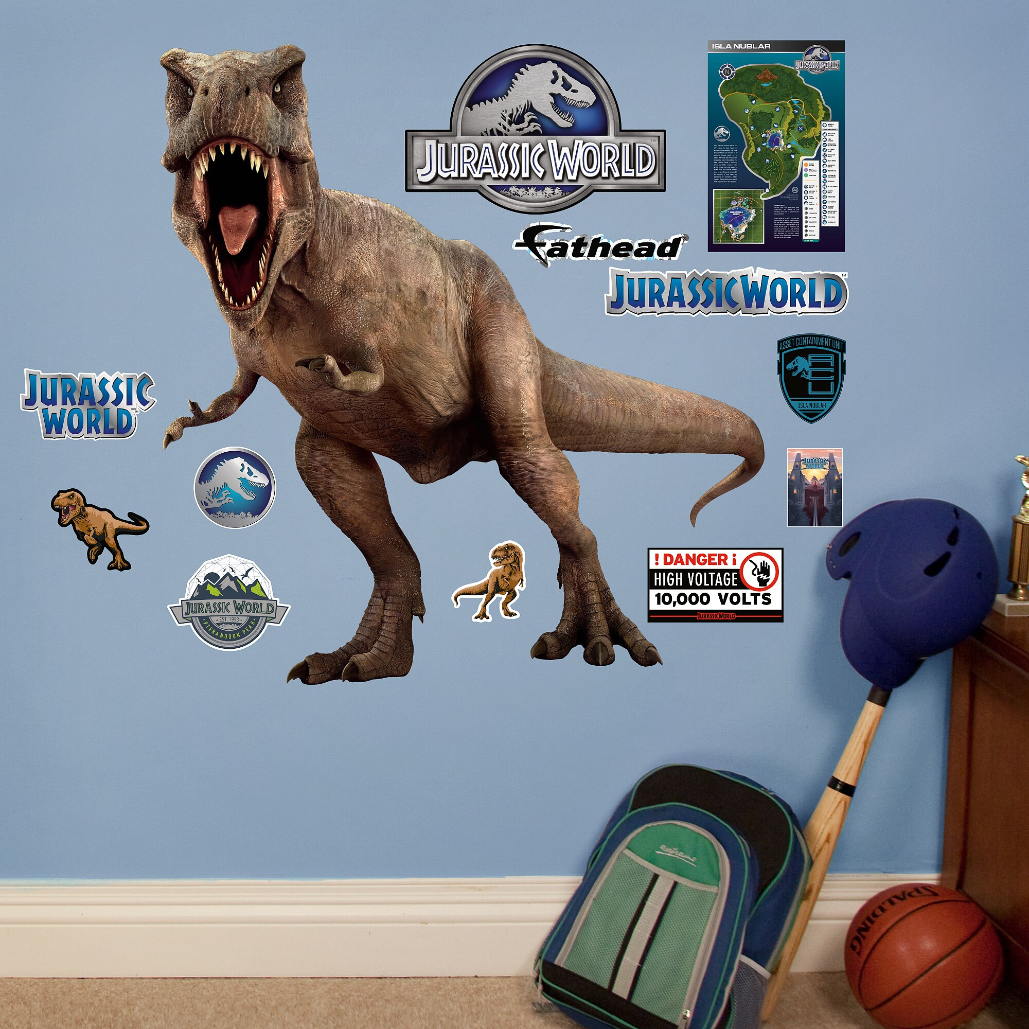 Fathead nbc universal t rex jurassic world peel and for Best 20 jurassic park wall decal