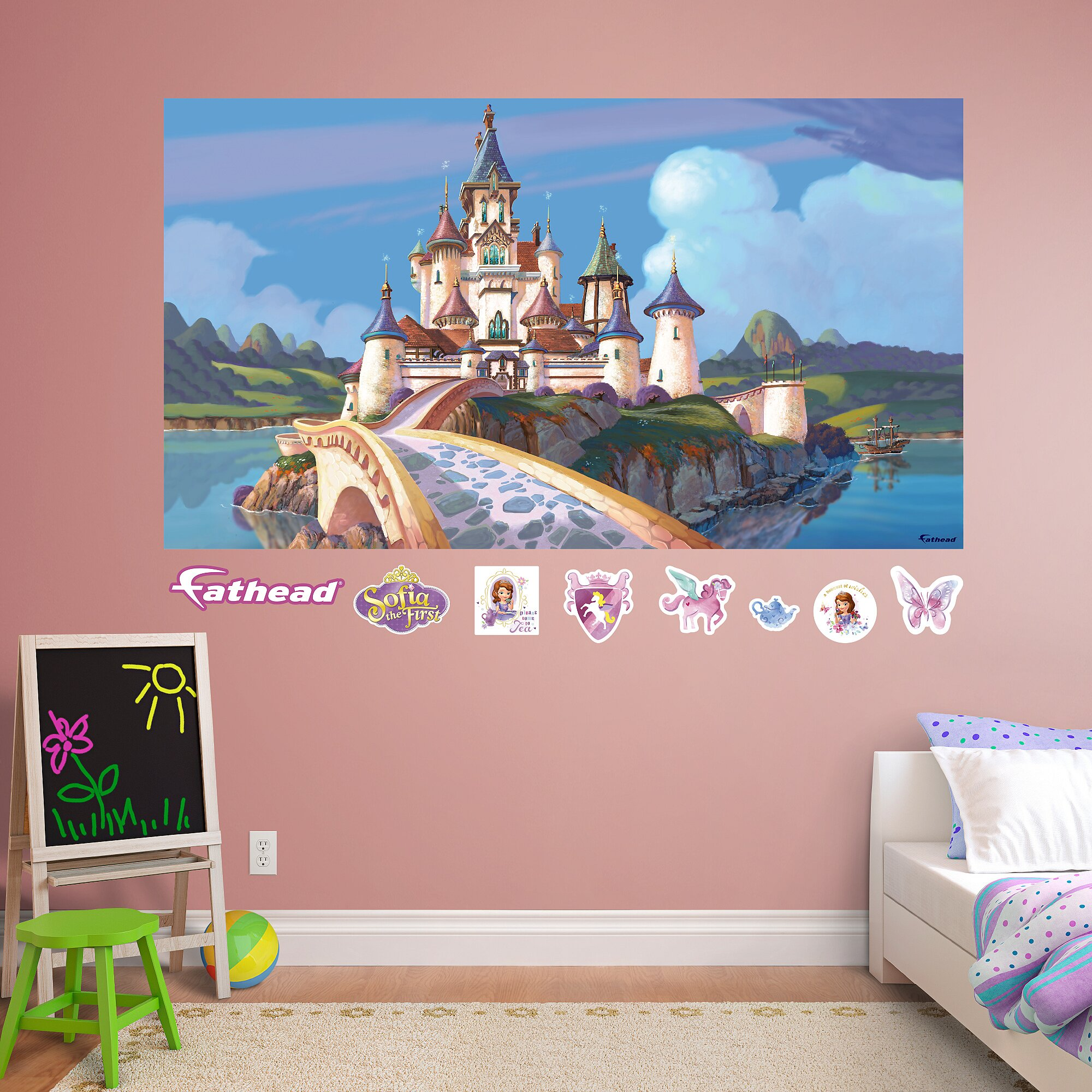 Fathead disney sofia the first castle peel and stick wall for Disney wall mural stickers
