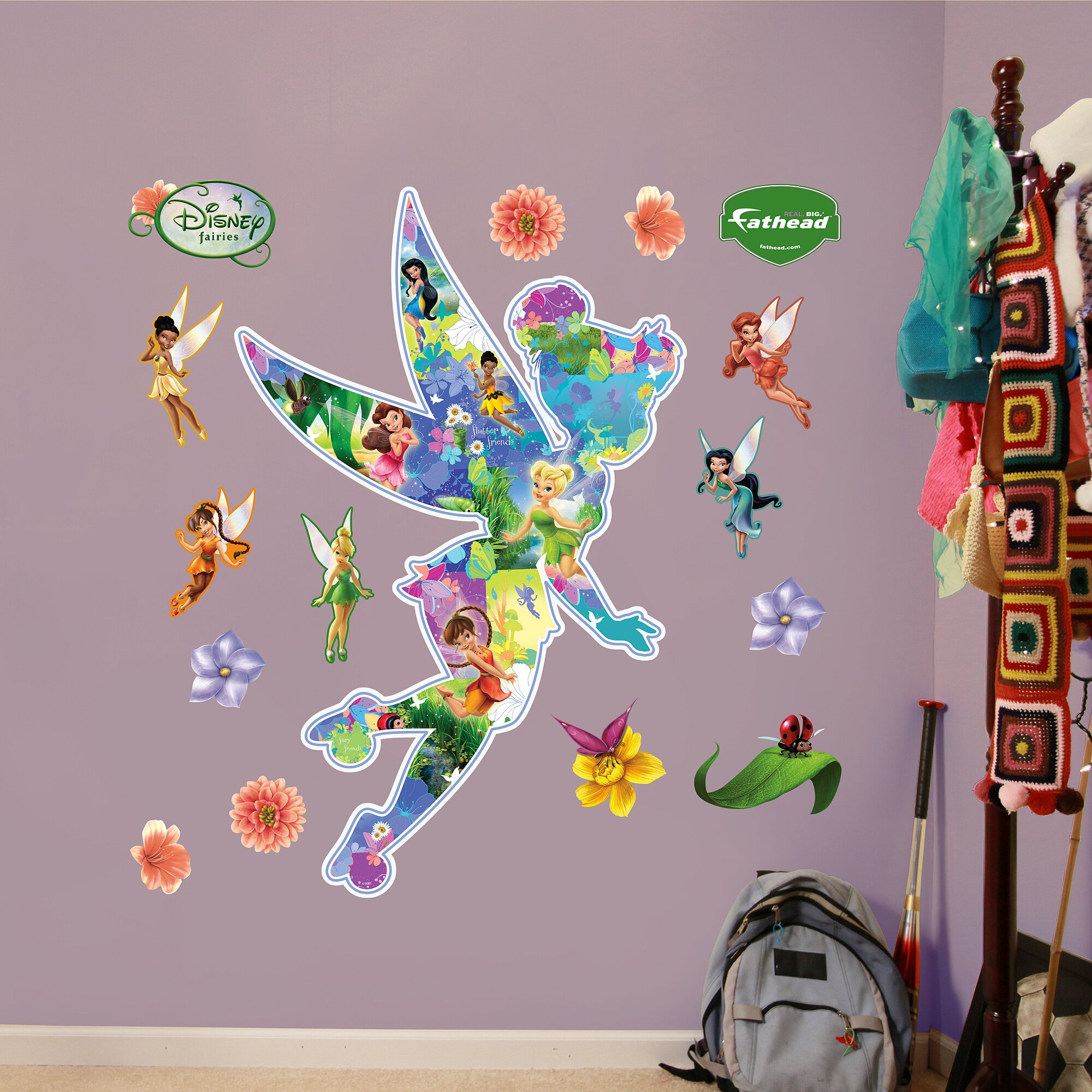 Fathead disney fairies montage wall decal wayfair for Disney fairies wall mural