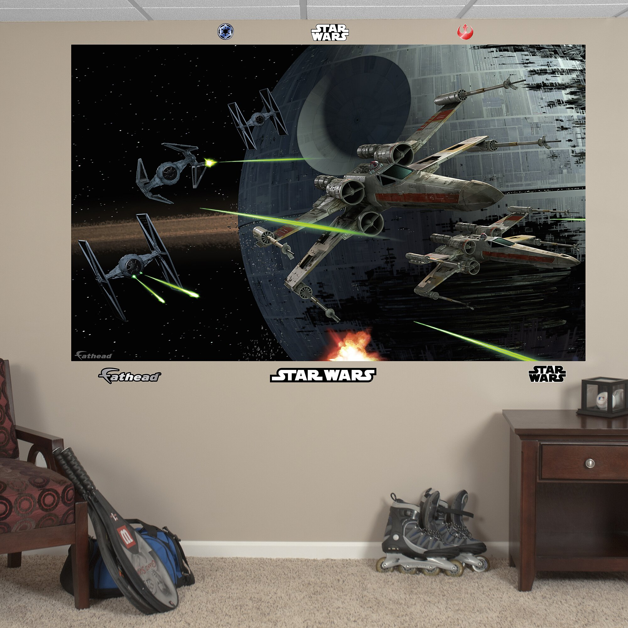 Fathead star wars space battle wall mural reviews wayfair for Mural star wars