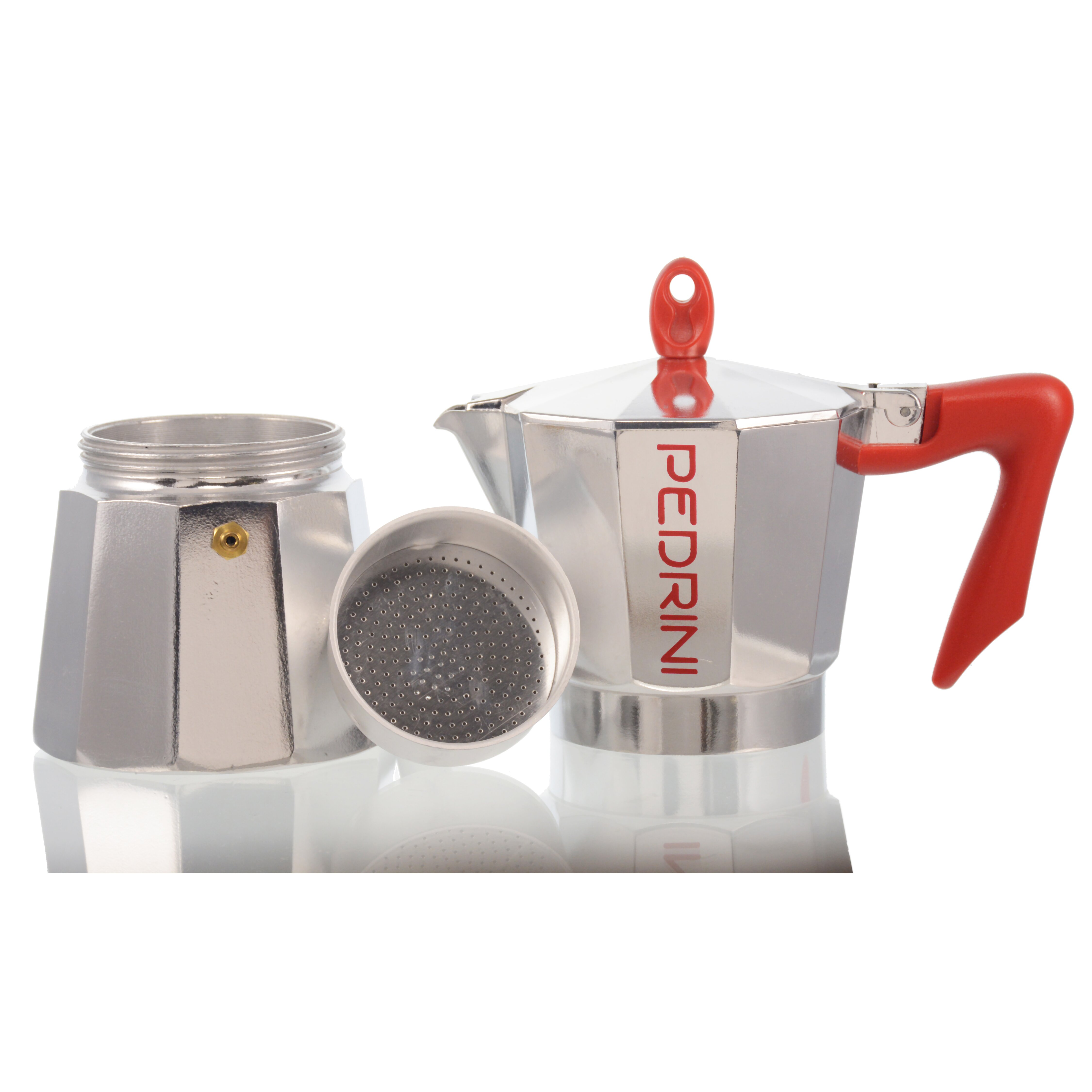 Stovetop Coffee Maker Handle : Grosche International Pedrini Stovetop Espresso Pot Silver with Red Handle & Reviews Wayfair
