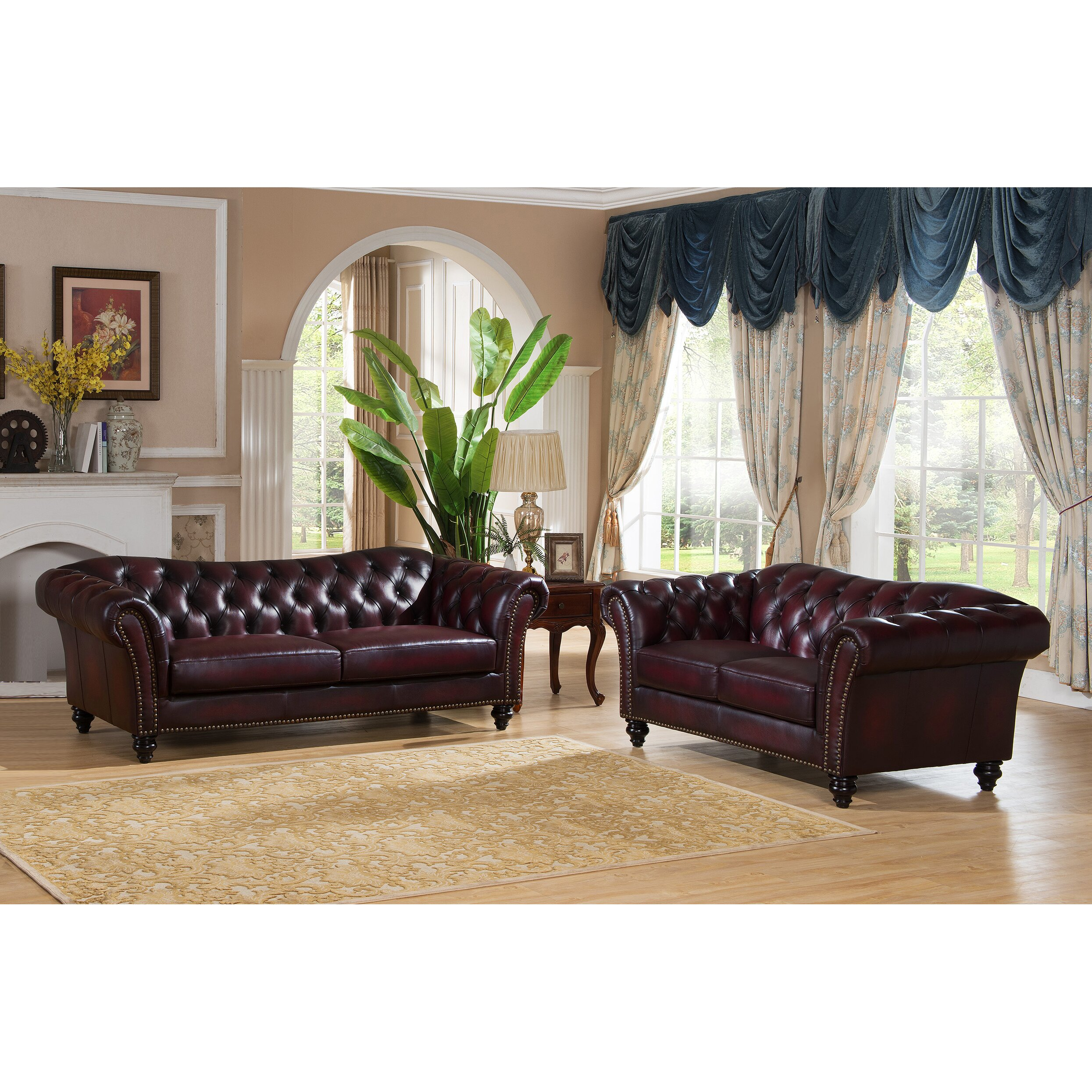 Hyde line furniture canterbury genuine leather 2 seater for Xavier sectional sofa