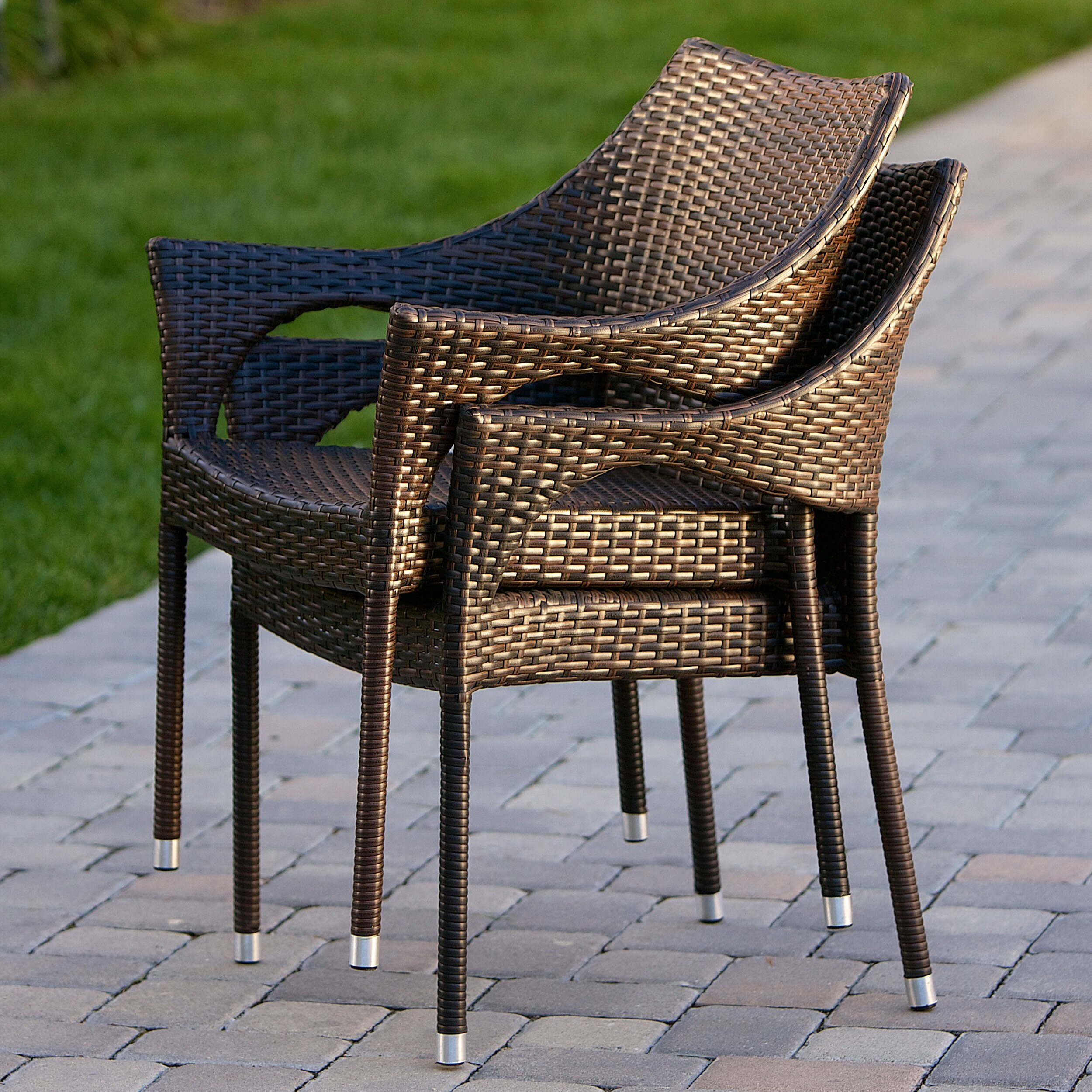 Home loft concepts norm outdoor wicker arm chair reviews for Rattan outdoor furniture