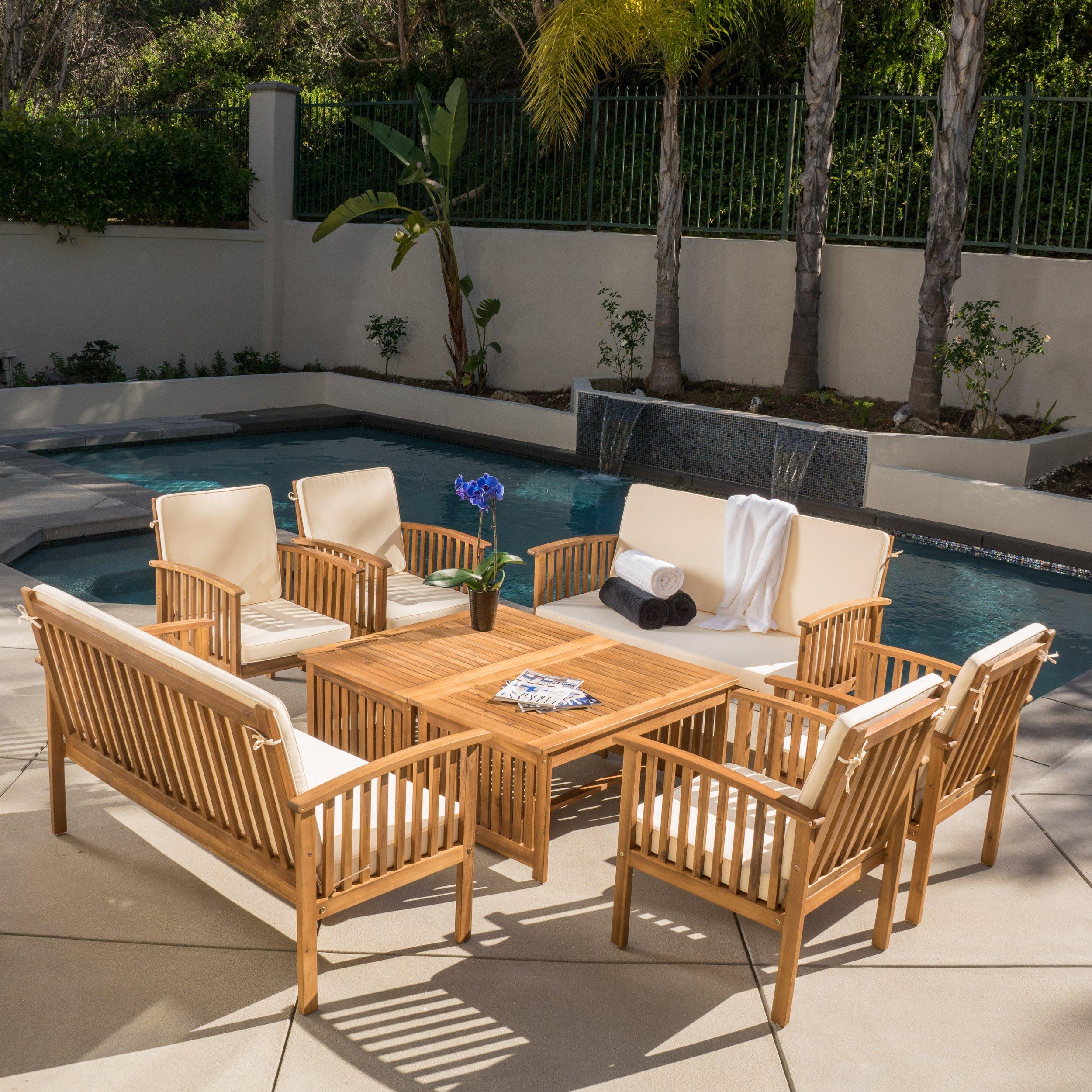home loft concepts dakota 8 piece dining set with cushion reviews wayfair. Black Bedroom Furniture Sets. Home Design Ideas