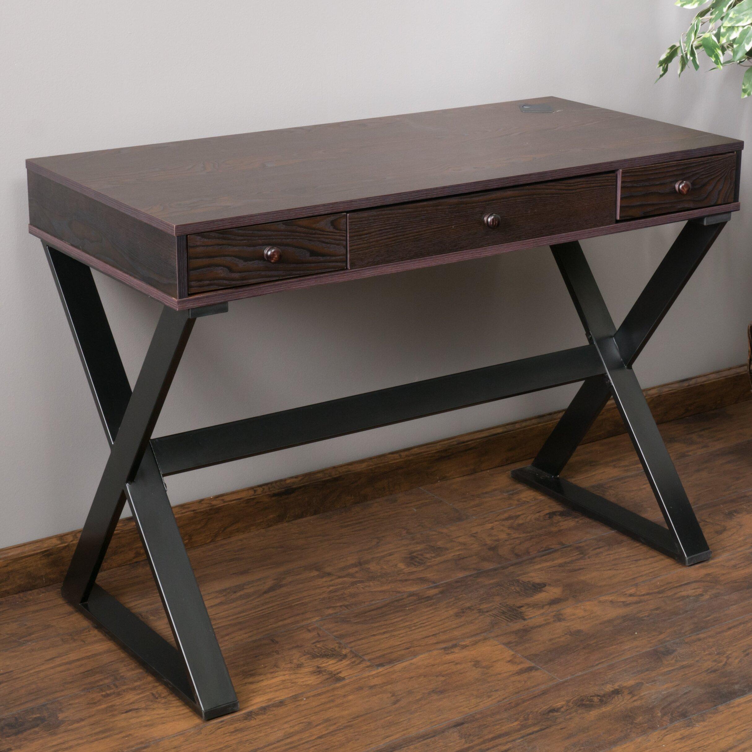 home loft concepts beverly 3 drawer writing desk reviews wayfair. Black Bedroom Furniture Sets. Home Design Ideas