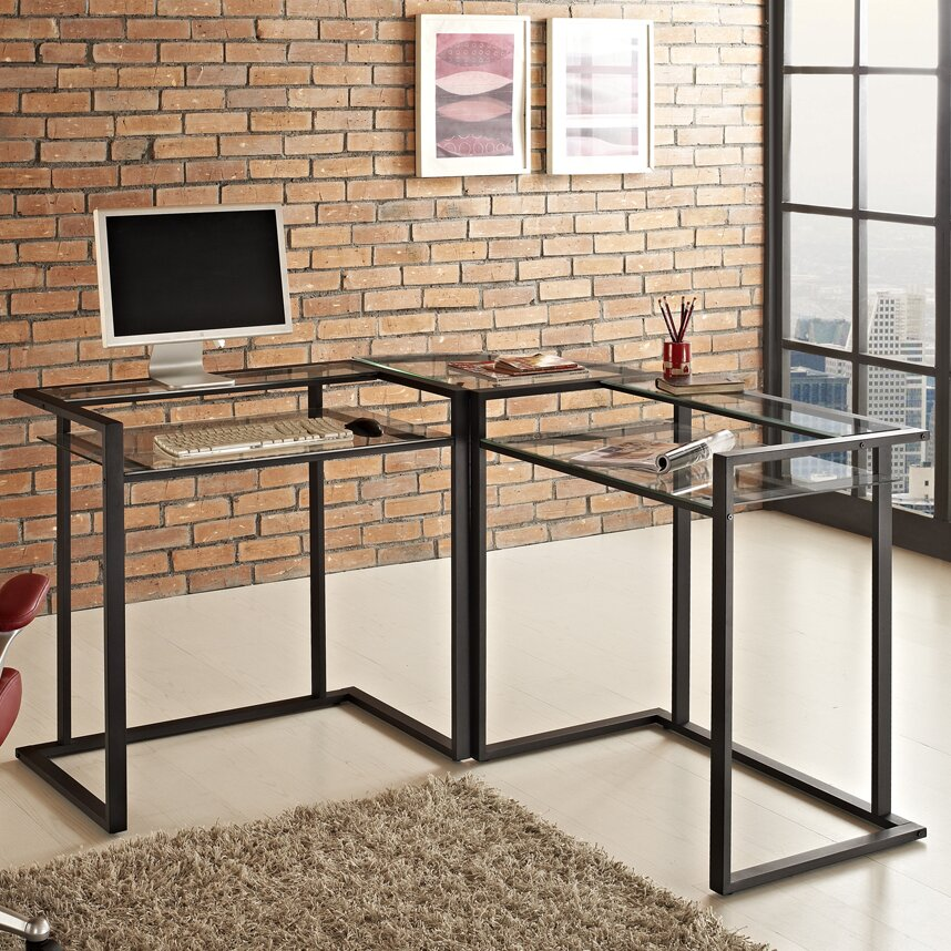 Corner Computer Desk: Mercury Row Corner C-Frame Computer Desk & Reviews