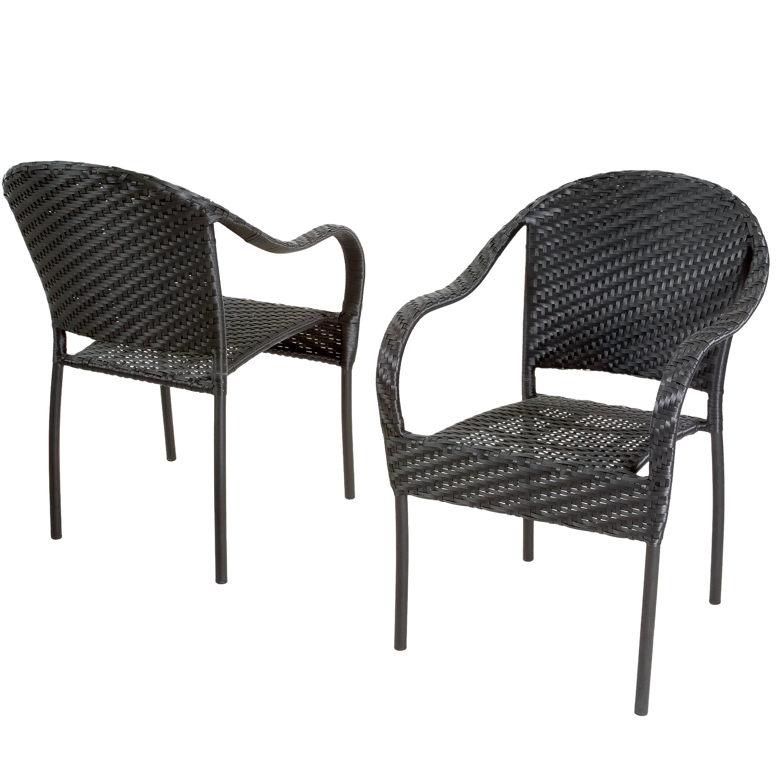 Black wicker outdoor chairs black rattan garden for Black porch furniture