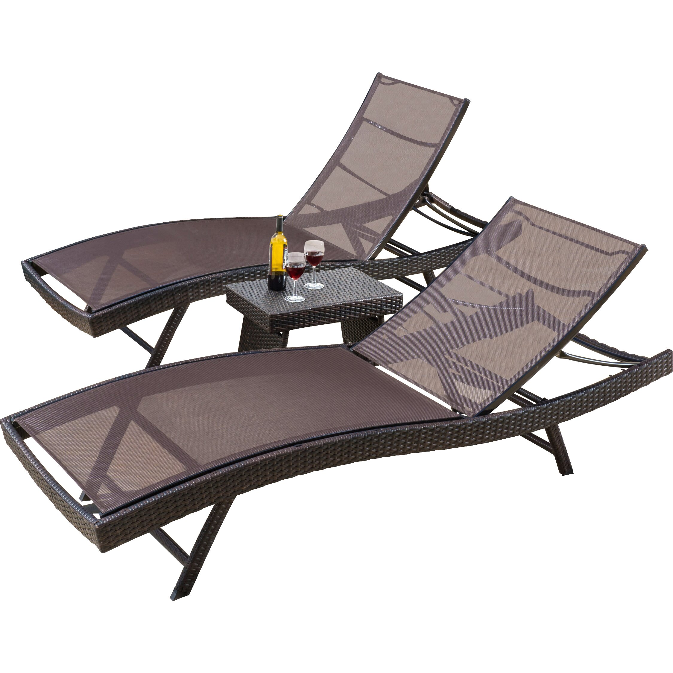 Home loft concepts halulu 3 piece chaise lounge set for 3 in 1 beach chaise lounge