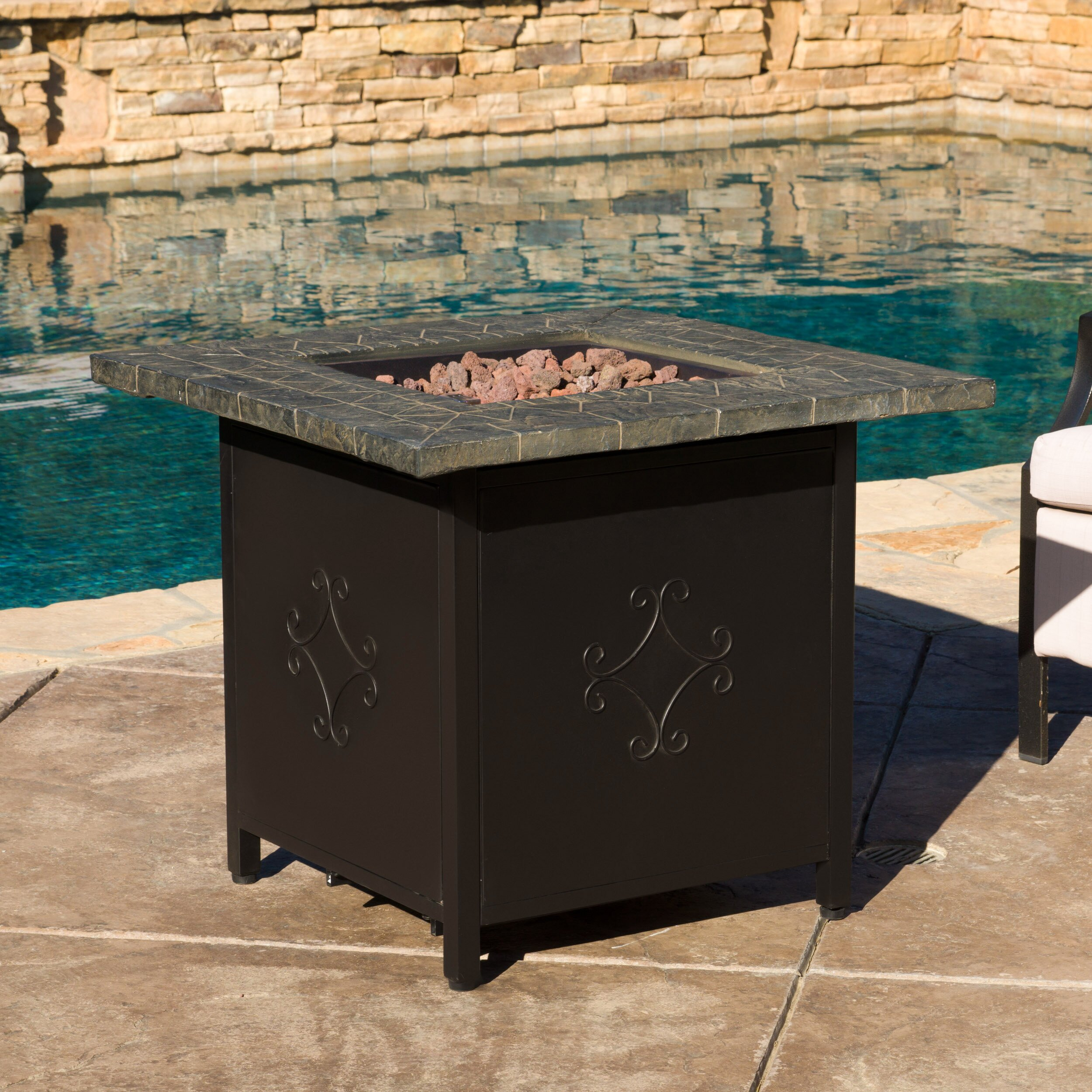 Home Loft Concepts Rios Metal Propane Fire Pit Table