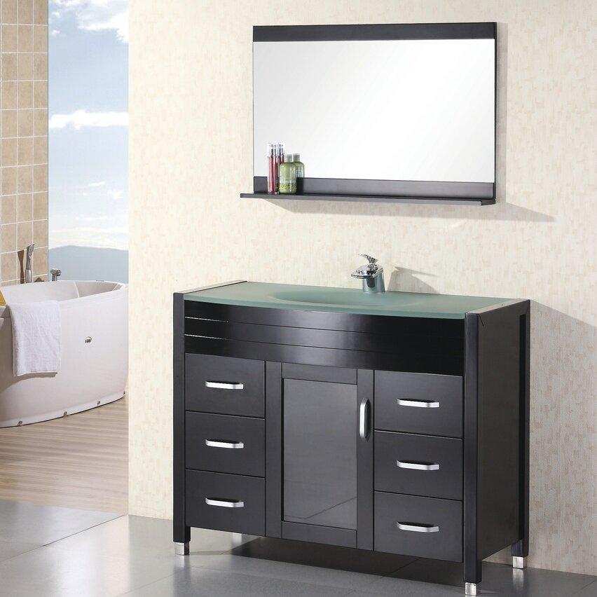 Home loft concepts remi 48 single bathroom vanity set for Bathroom mirror set