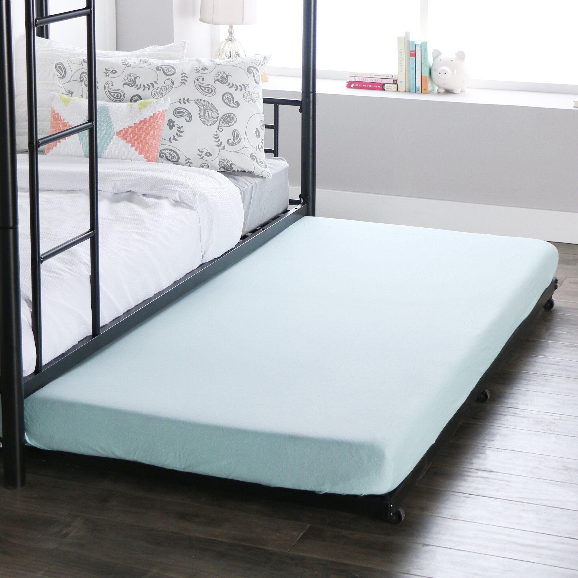 Home loft concepts twin roll out trundle bed frame for Twin mattress and frame