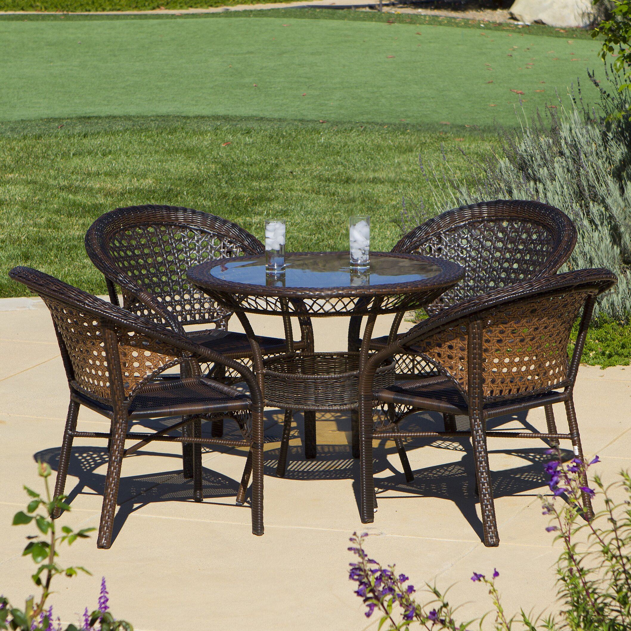 Home Loft Concepts Andre 5 Piece Wicker Outdoor Dining Set & Reviews