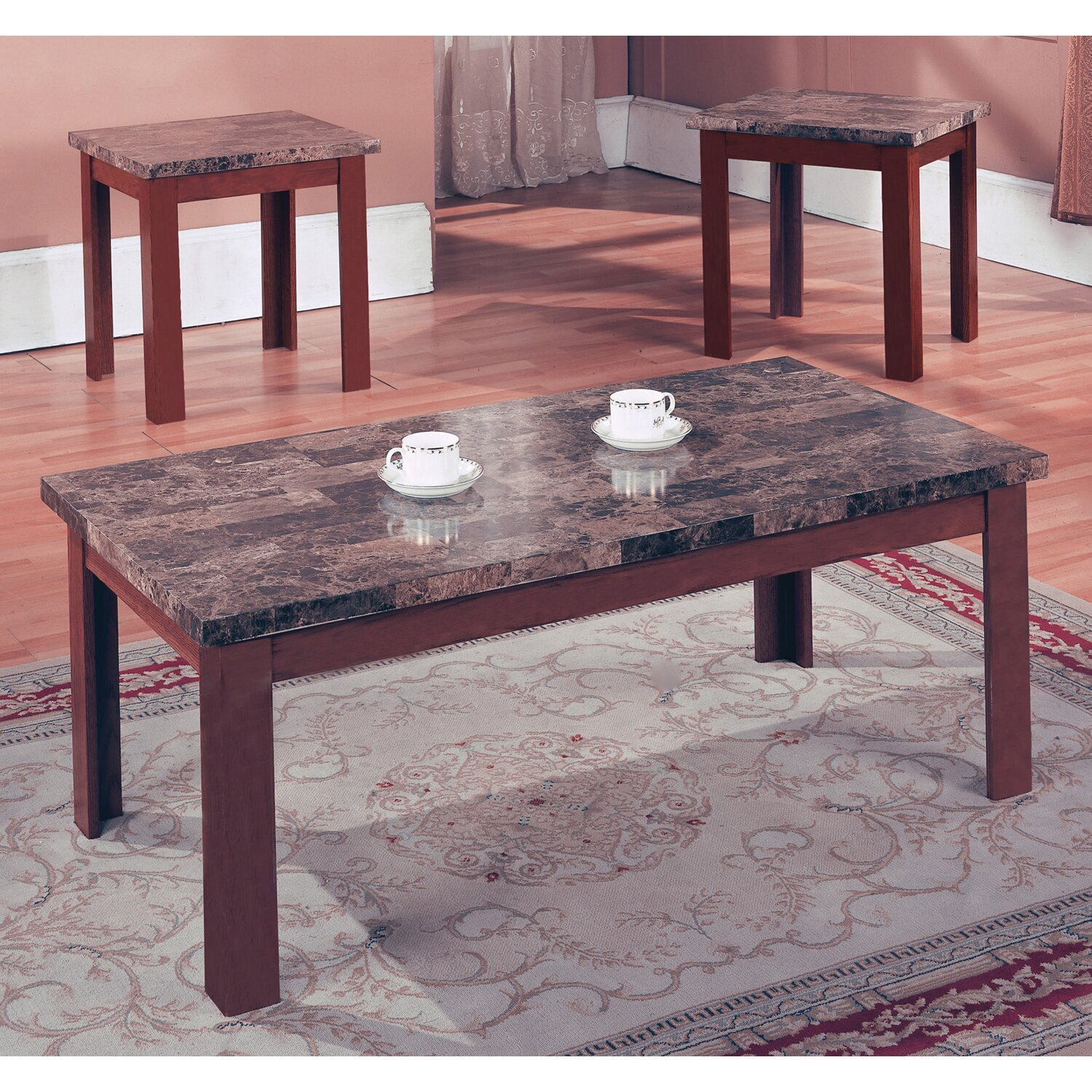 Marble Coffee Table Sets Hillsdale Monaco Faux Marble 3 Pc Espresso Coffee Table Set Ebay