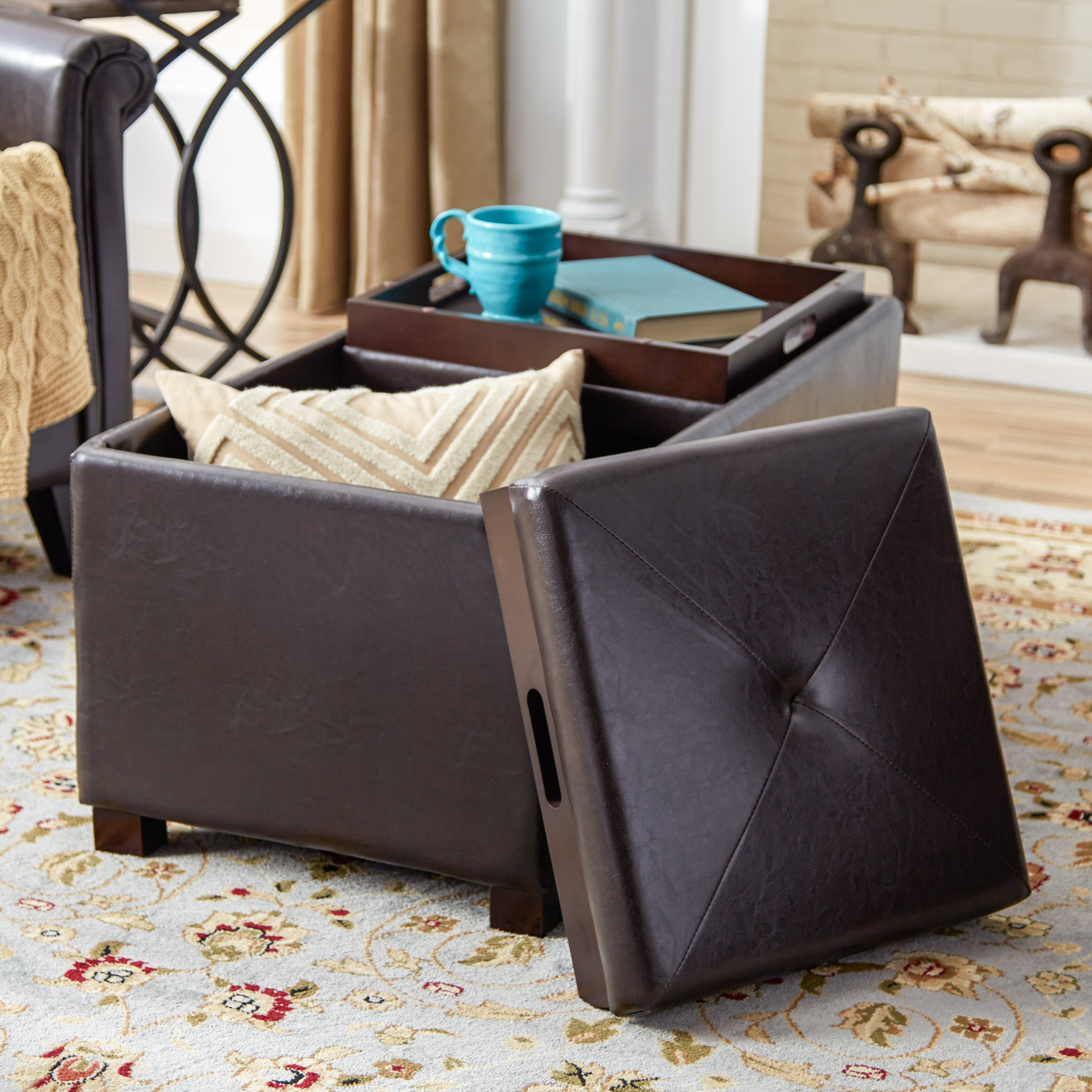 Andover Mills Leslie Double Tray Storage Ottoman Amp Reviews