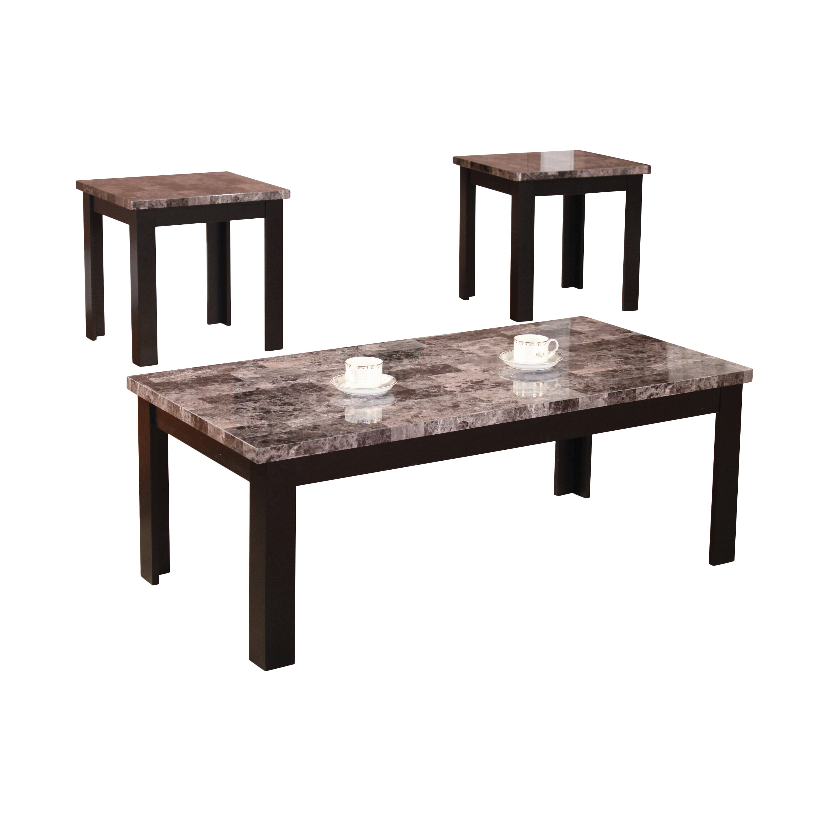 andover mills cecil marble top 3 piece coffee table set