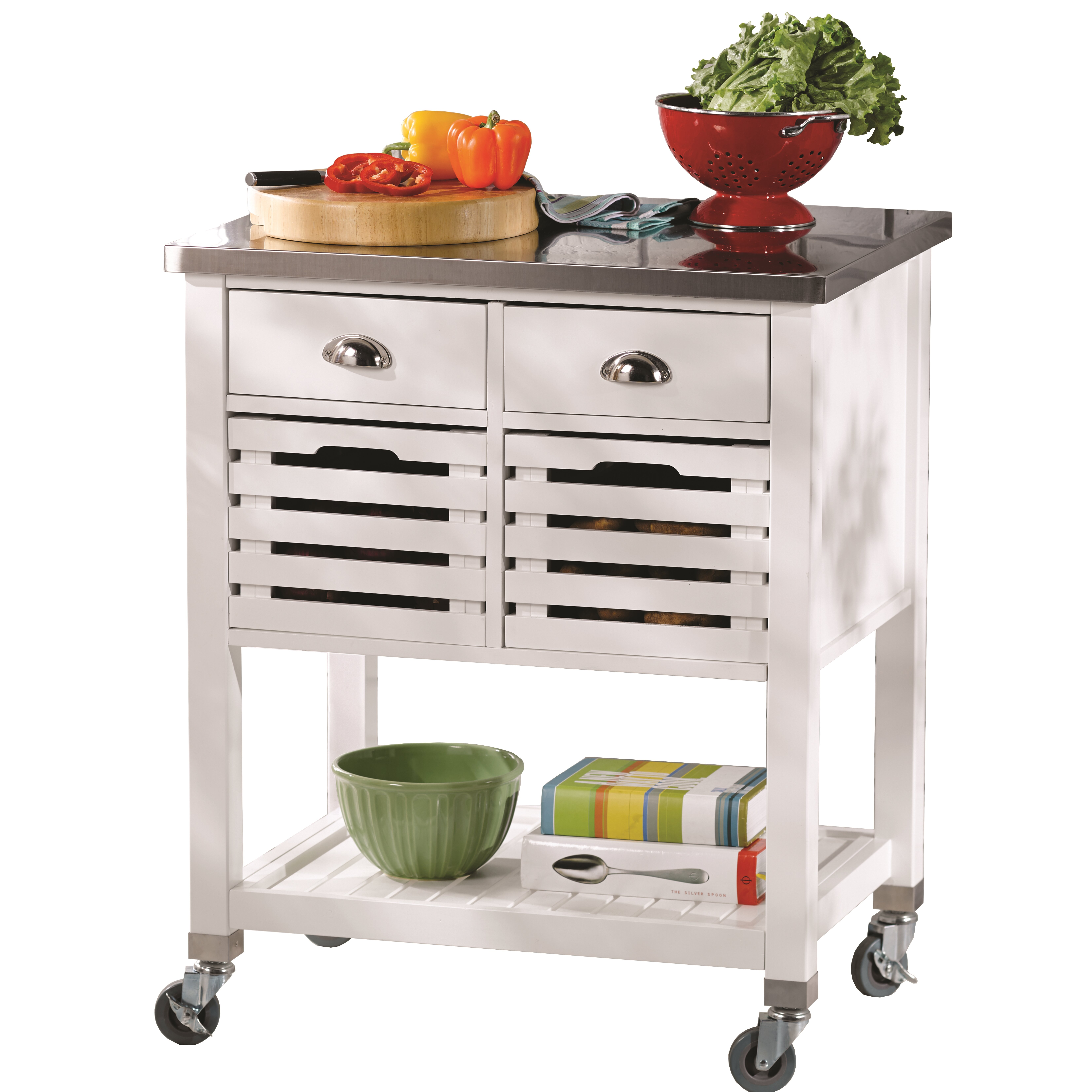 Andover Mills Kitchen Cart With Stainless Steel Top Reviews Wayfair