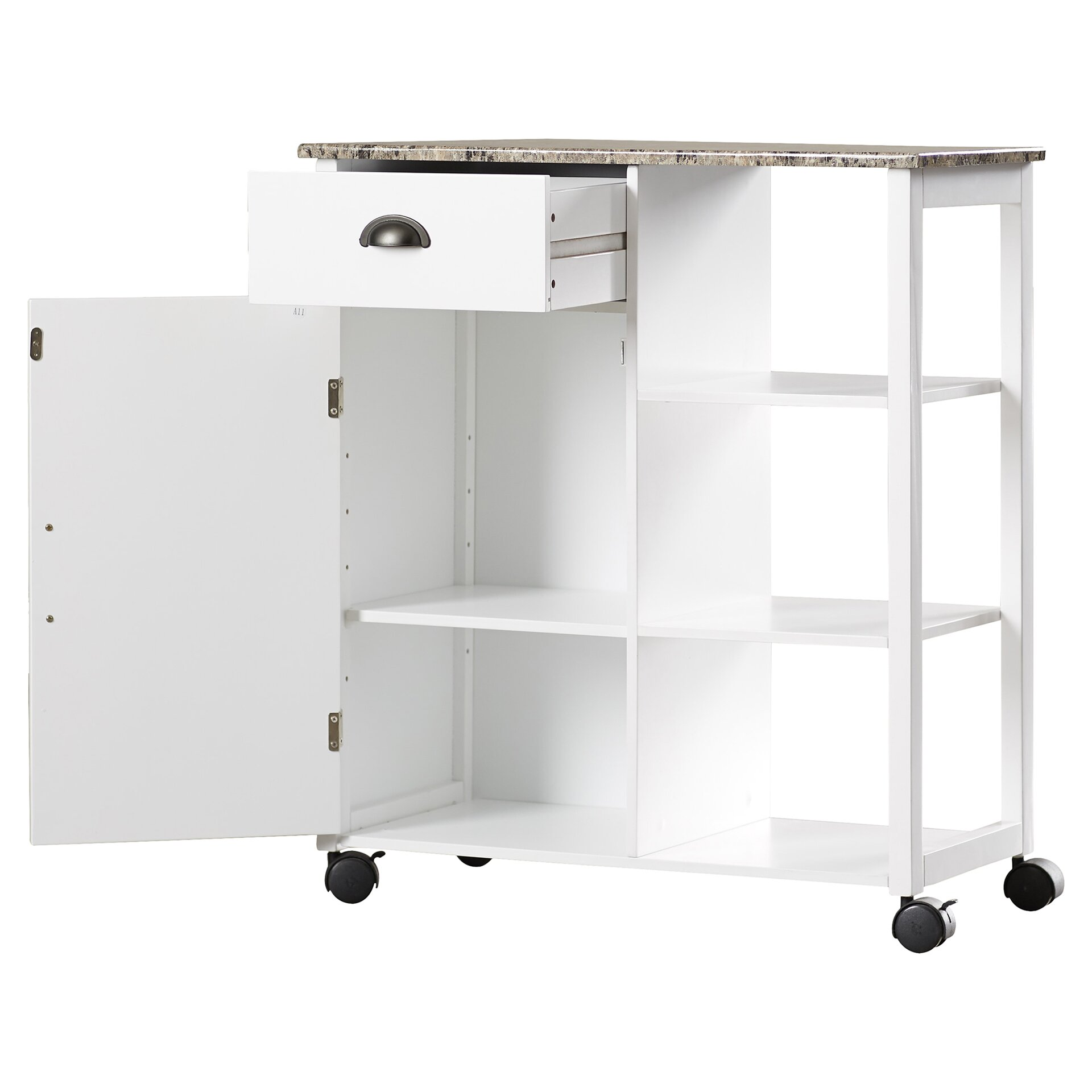Andover Mills Irma Kitchen Cart With Marble Top Reviews Wayfair