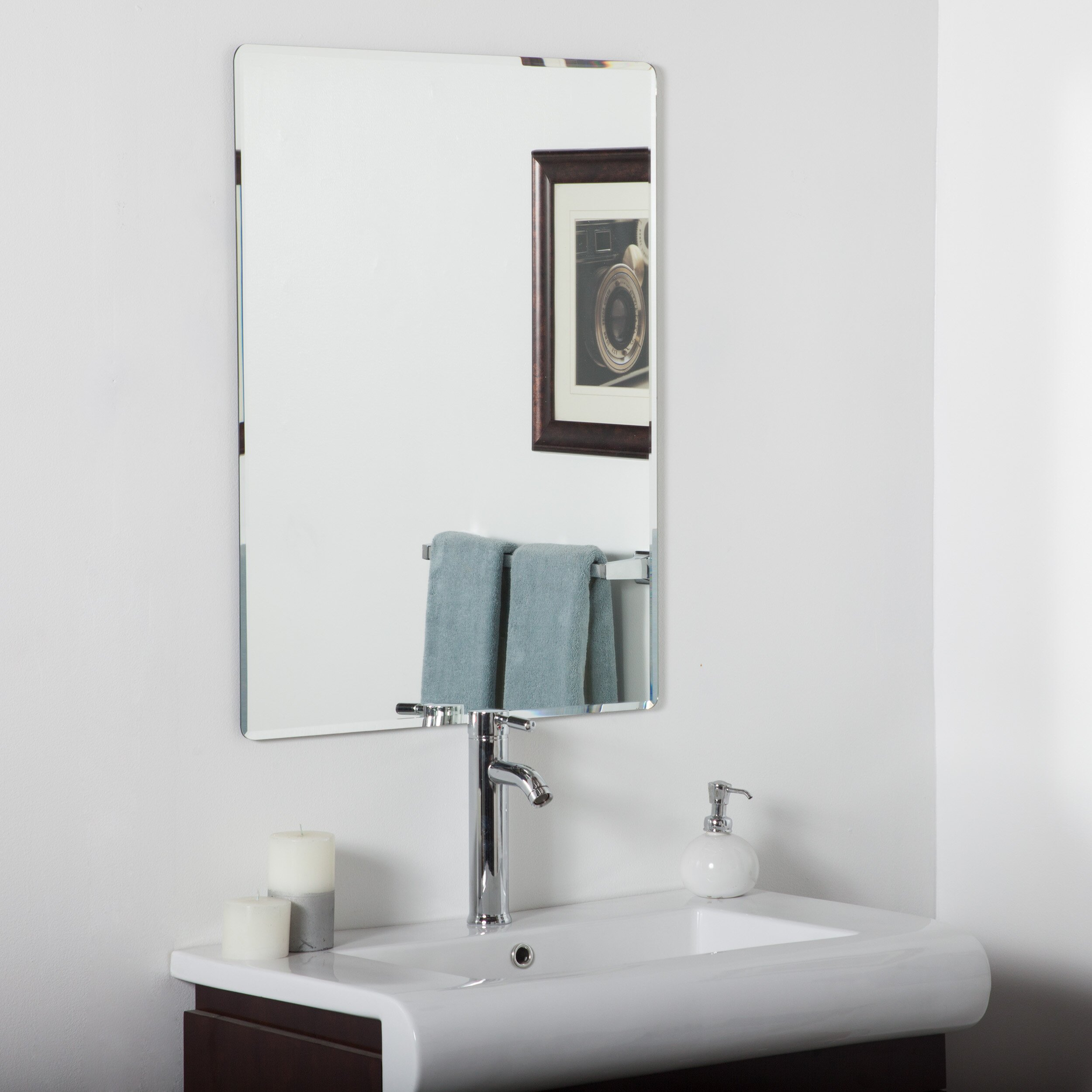 Andover mills frameless wall mirror reviews wayfair for Frameless wall mirror