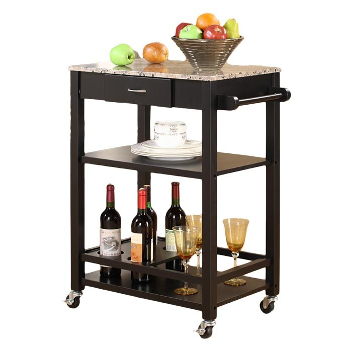 Andover Mills Jamestown Kitchen Cart With Faux Marble Top Reviews