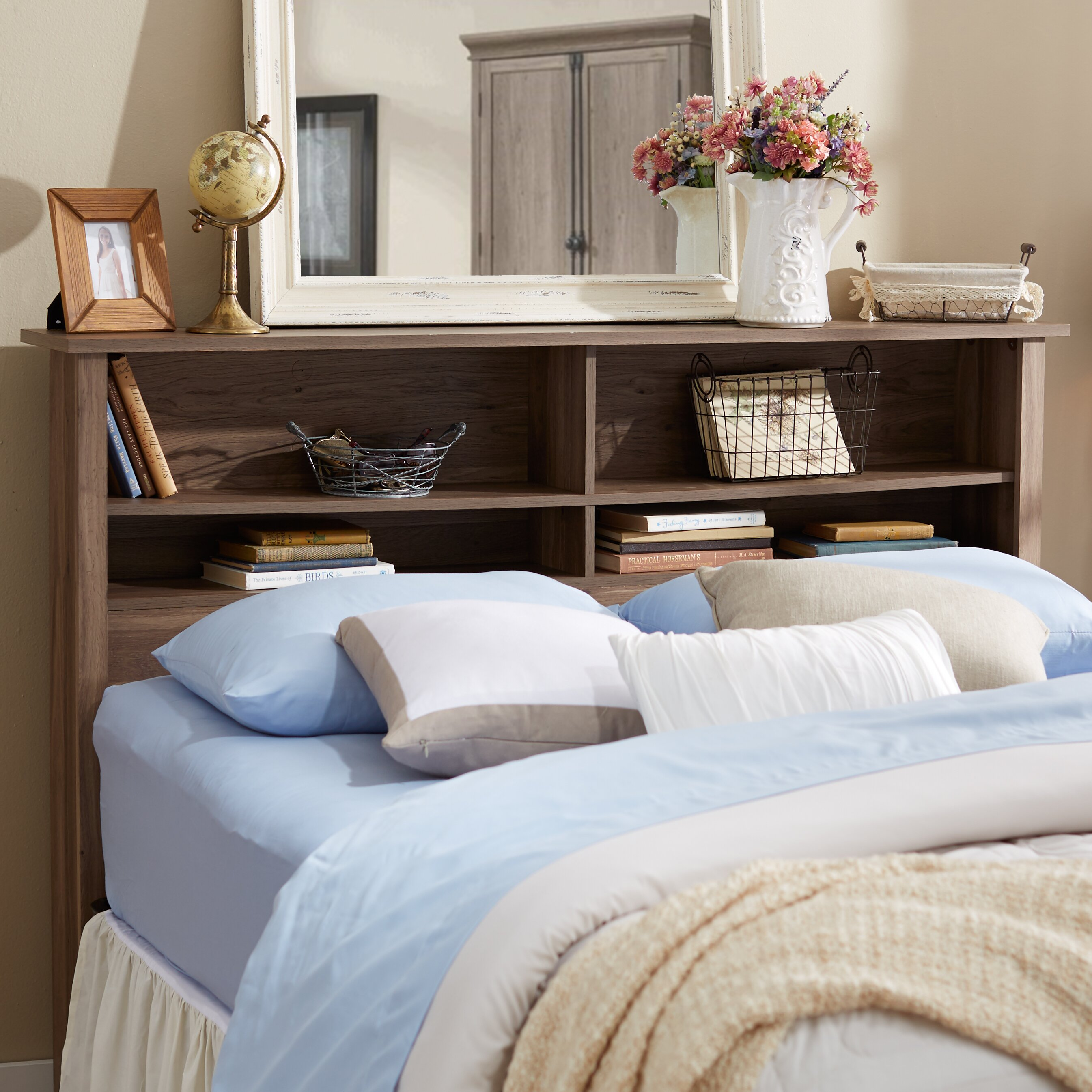 andover mills queen bookcase wood headboard reviews. Black Bedroom Furniture Sets. Home Design Ideas