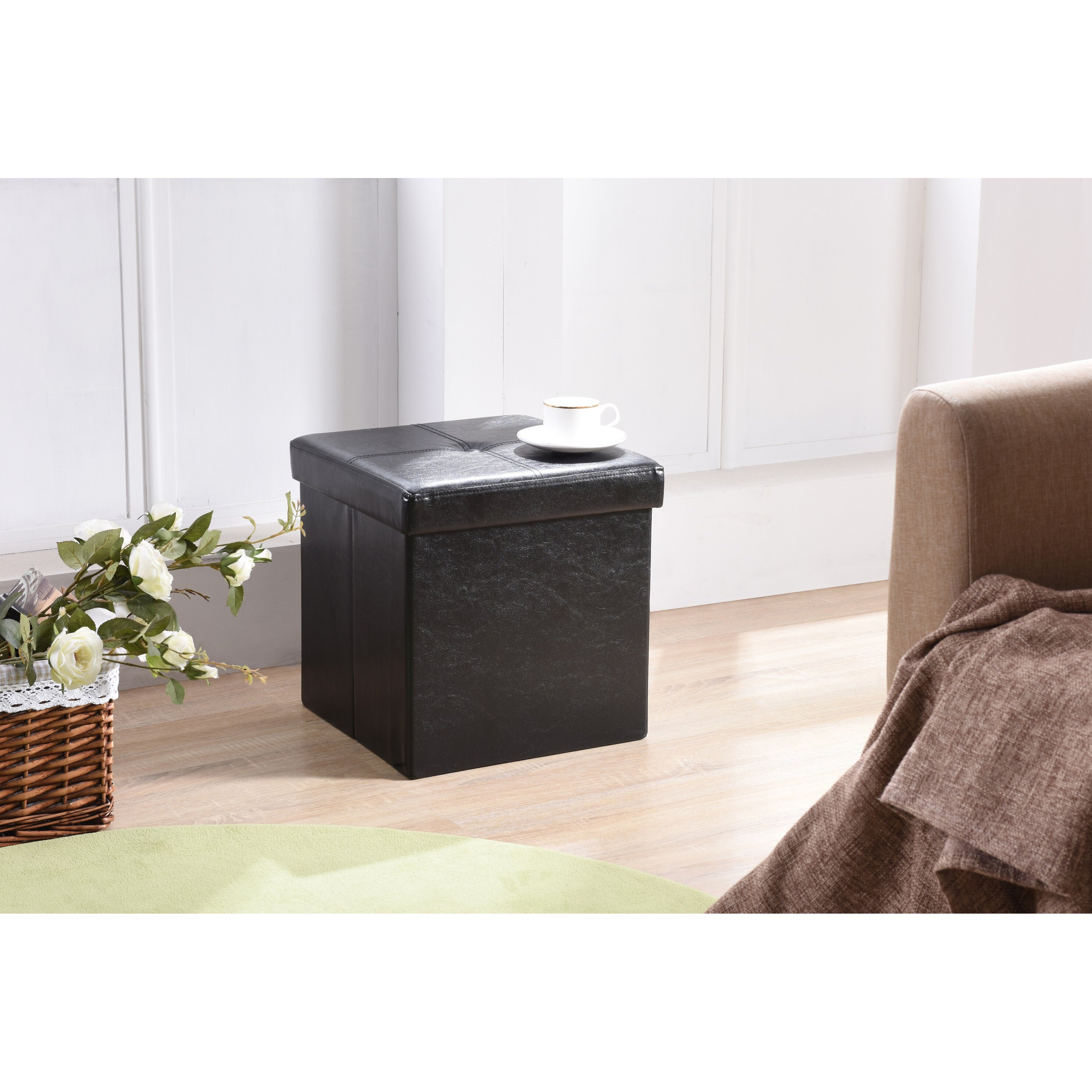 Storage Ottoman Upholstered Marquis Mahogany Upholstered