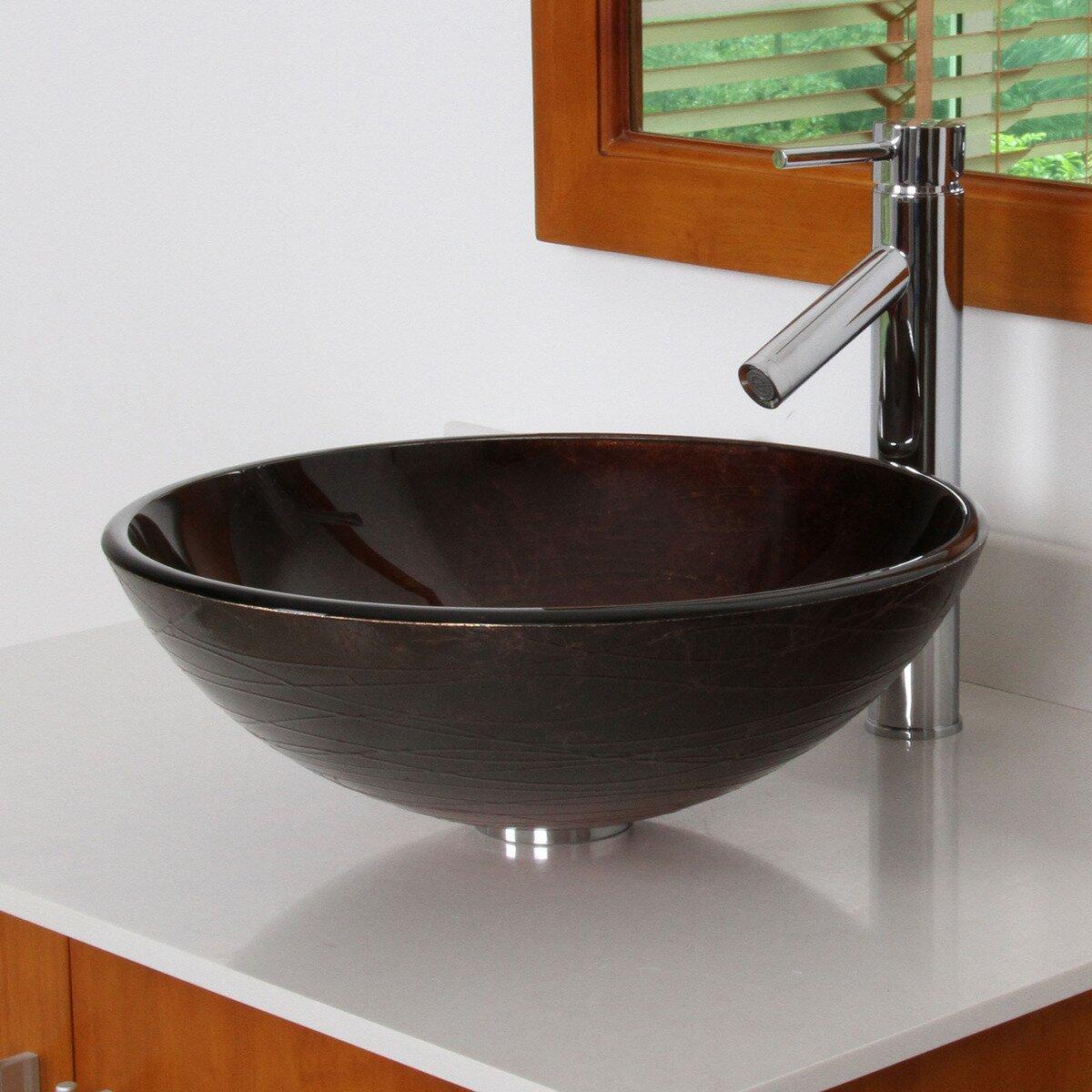 elite neutral handcrafted glass bowl vessel bathroom sink reviews wayfair