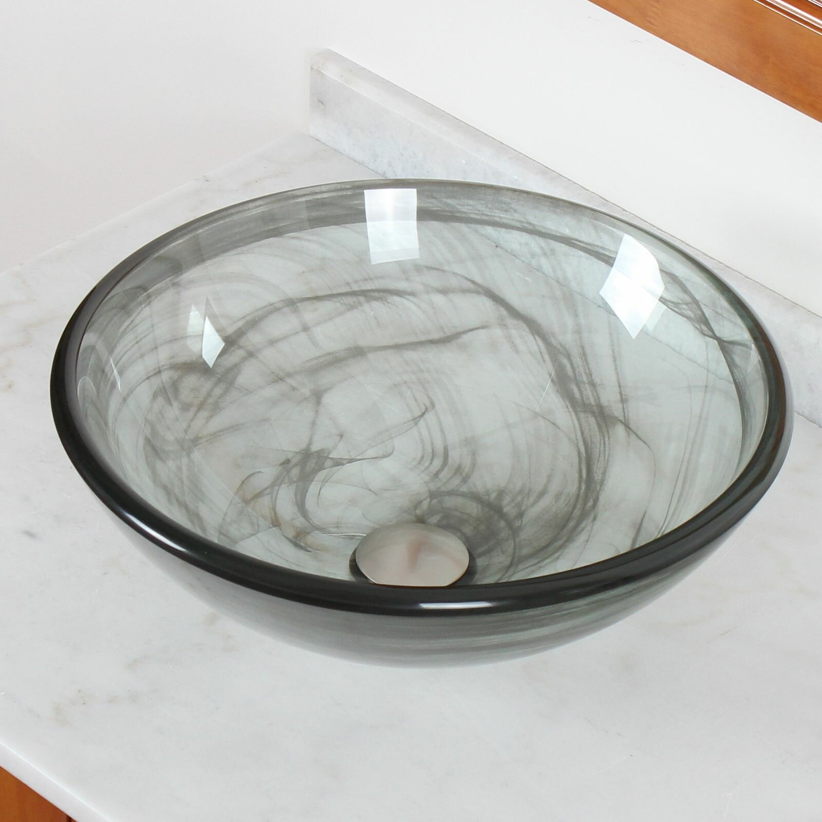 Elite double layered tempered glass bowl vessel bathroom for Bowl sinks for bathrooms with vanity