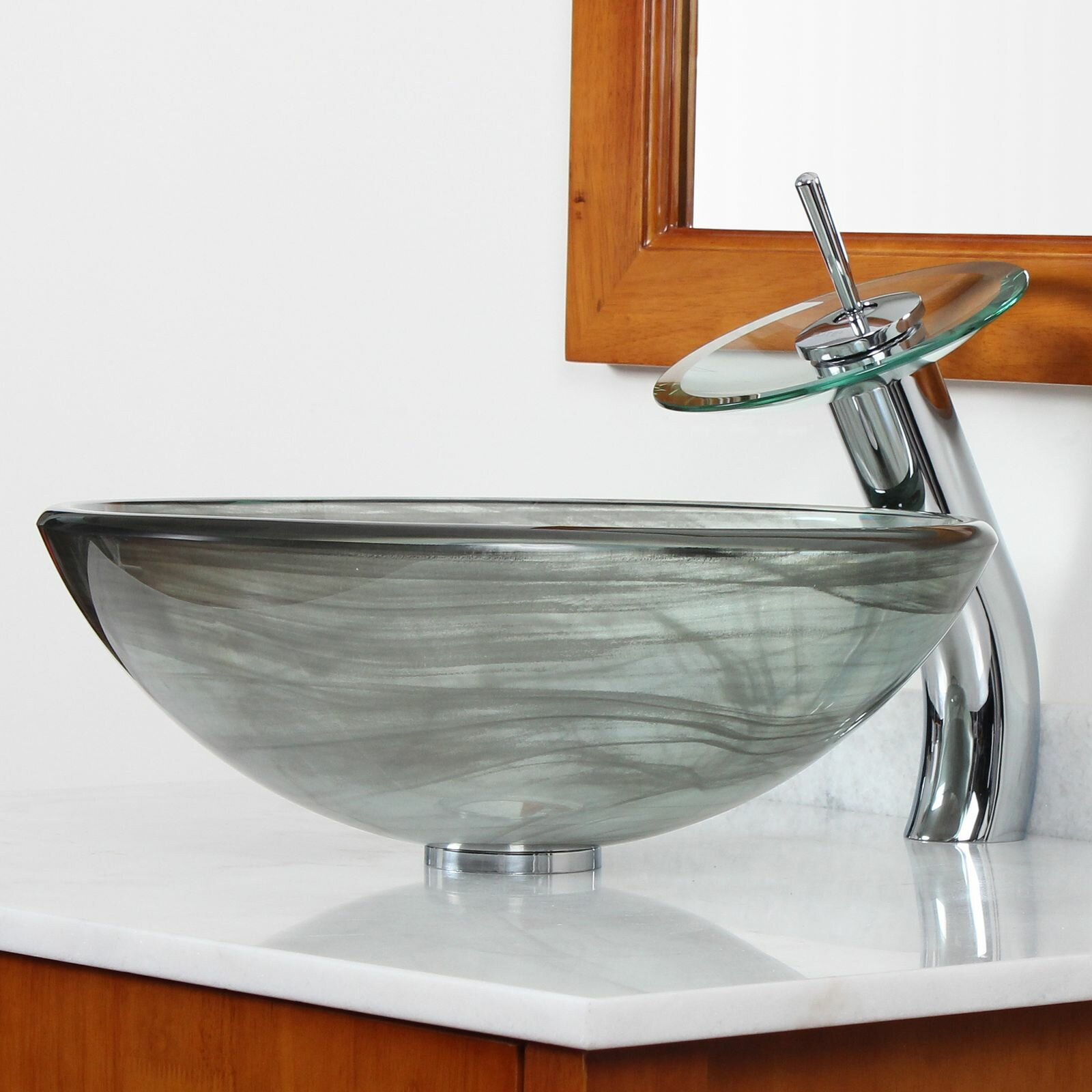 elite double layered tempered glass bowl vessel bathroom sink reviews wayfair. Black Bedroom Furniture Sets. Home Design Ideas