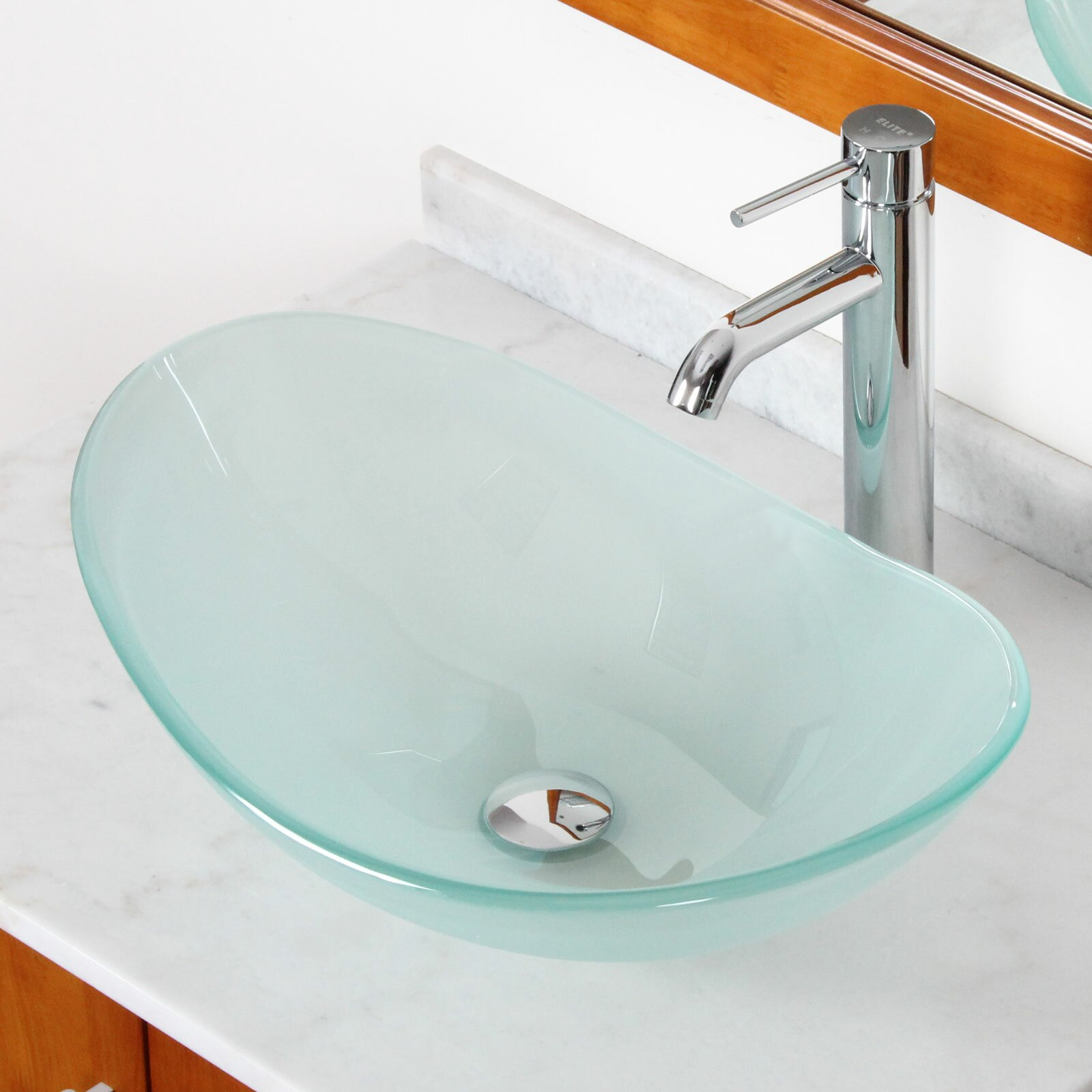 Elite double layered tempered glass boat shaped bowl - Bathroom tempered glass vessel sink ...