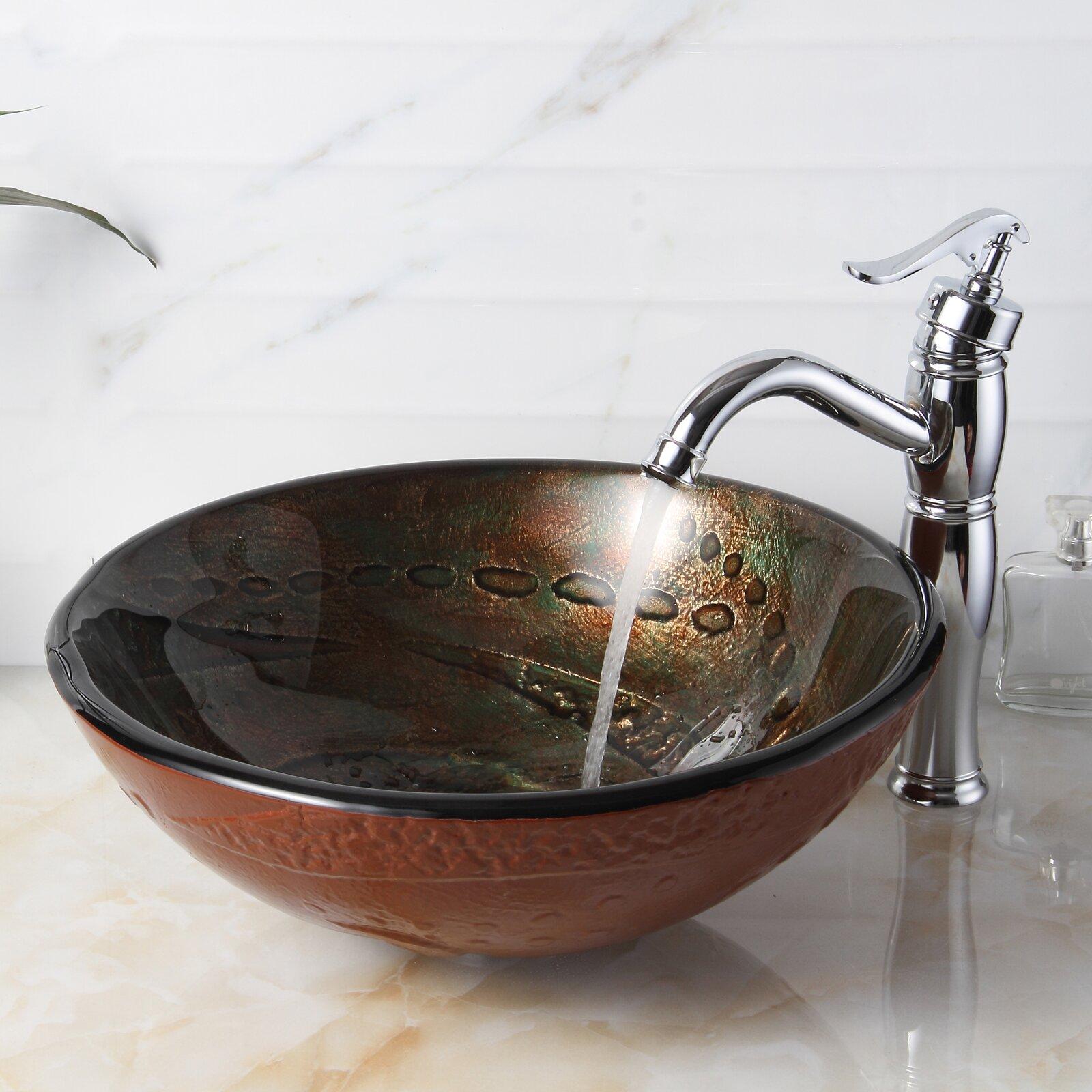 Elite Hot Melted Rock Pattern Glass Bowl Vessel Bathroom