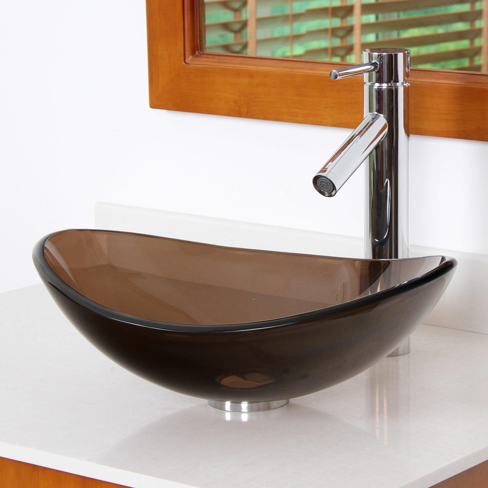 Oval Glass Vessel Sink : Elite Tempered Glass Boat Shaped Oval Bottom Bowl Vessel Bathroom Sink ...
