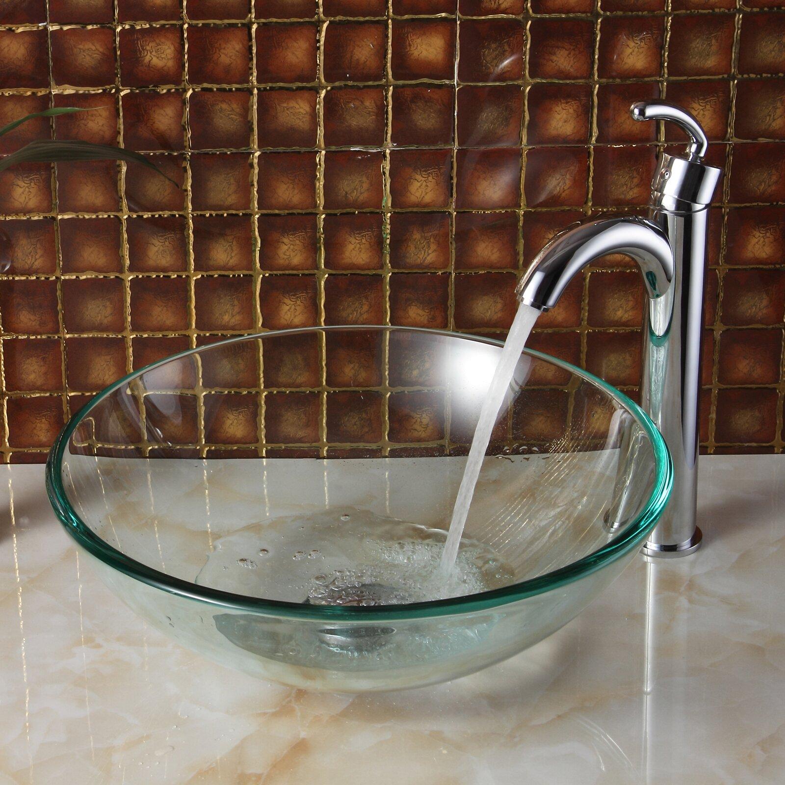 Elite Tempered Glass Round Bowl Vessel Bathroom Sink & Reviews
