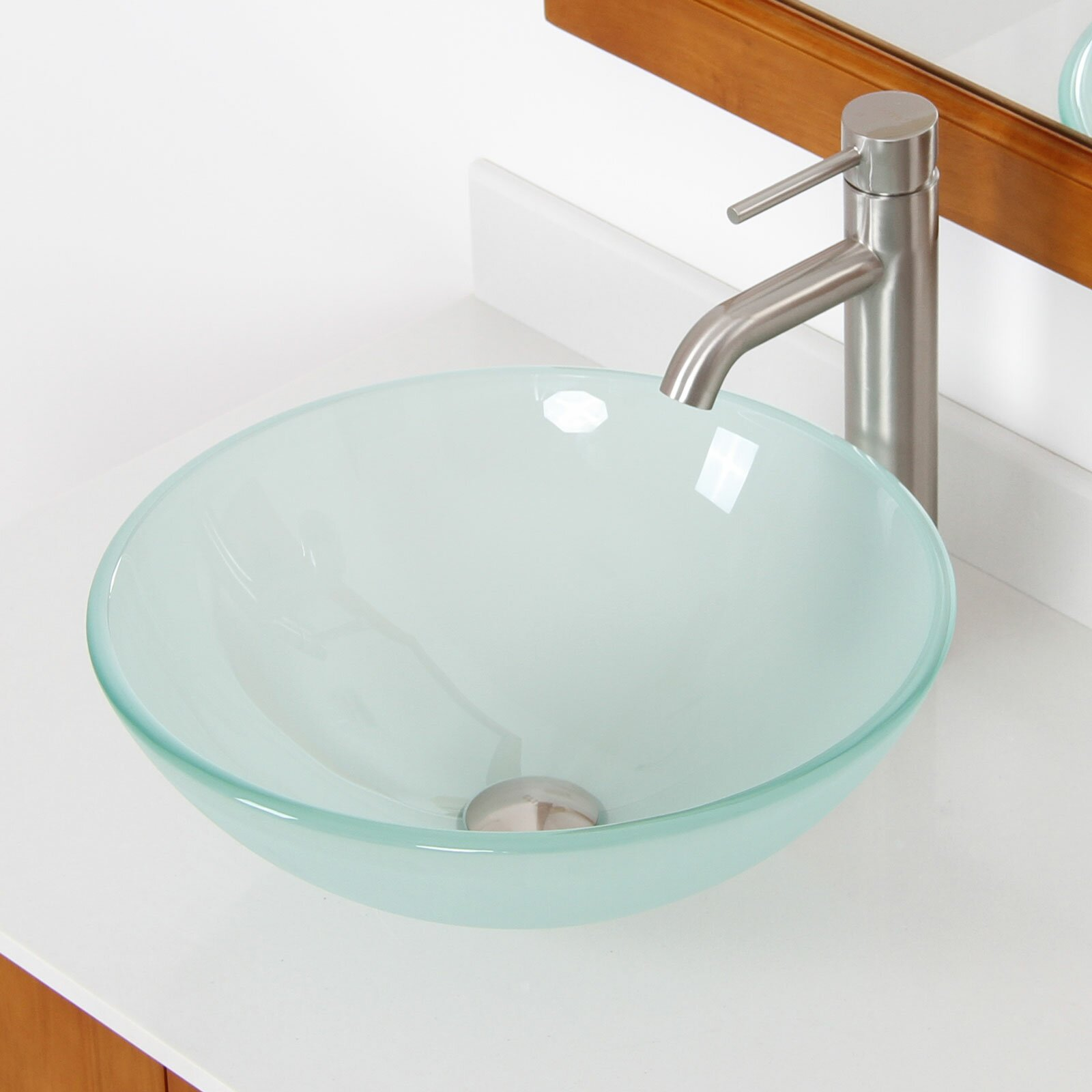 Elite Double Layered Tempered Glass Round Bowl Vessel Bathroom Sink Reviews Wayfair