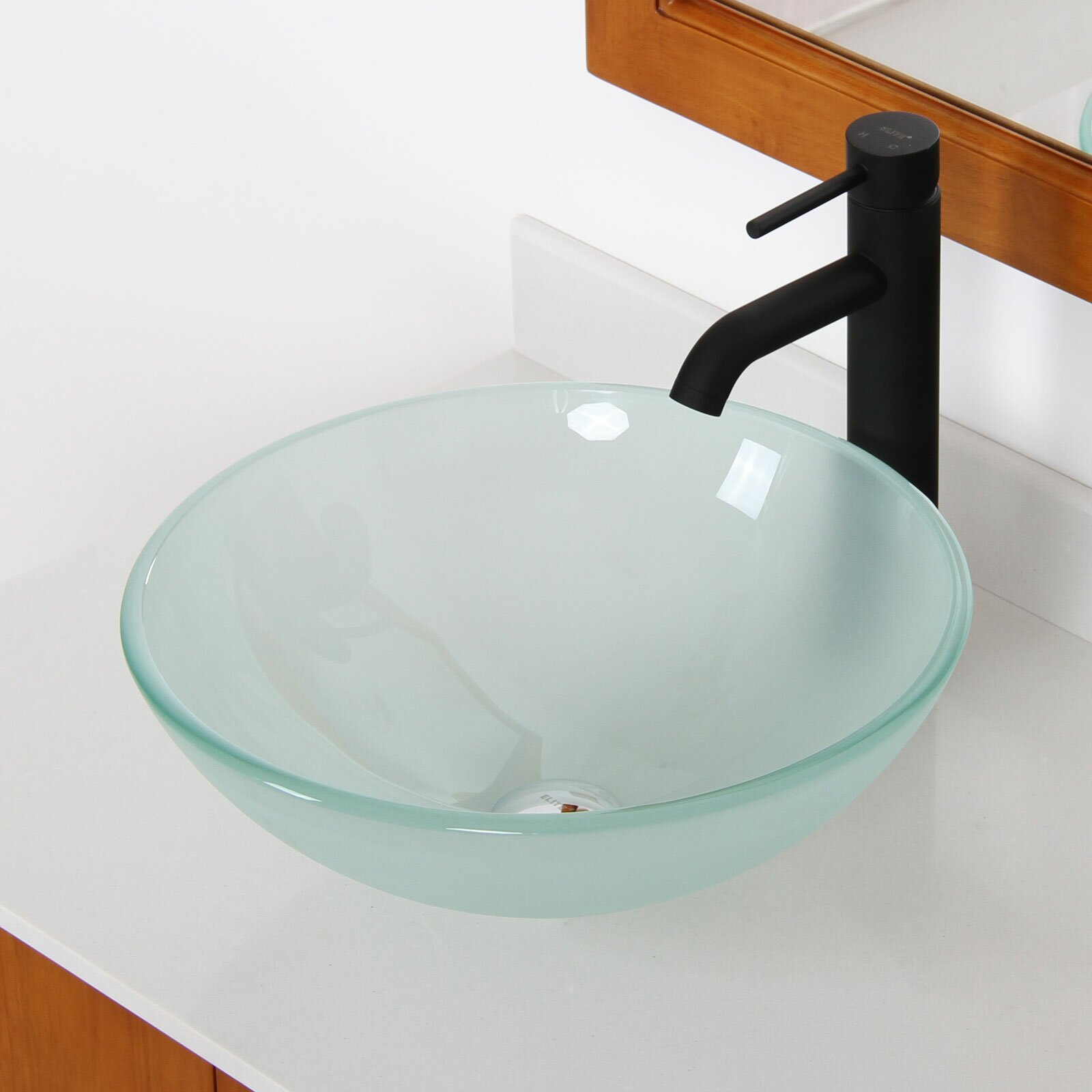 elite double layered tempered glass round bowl vessel