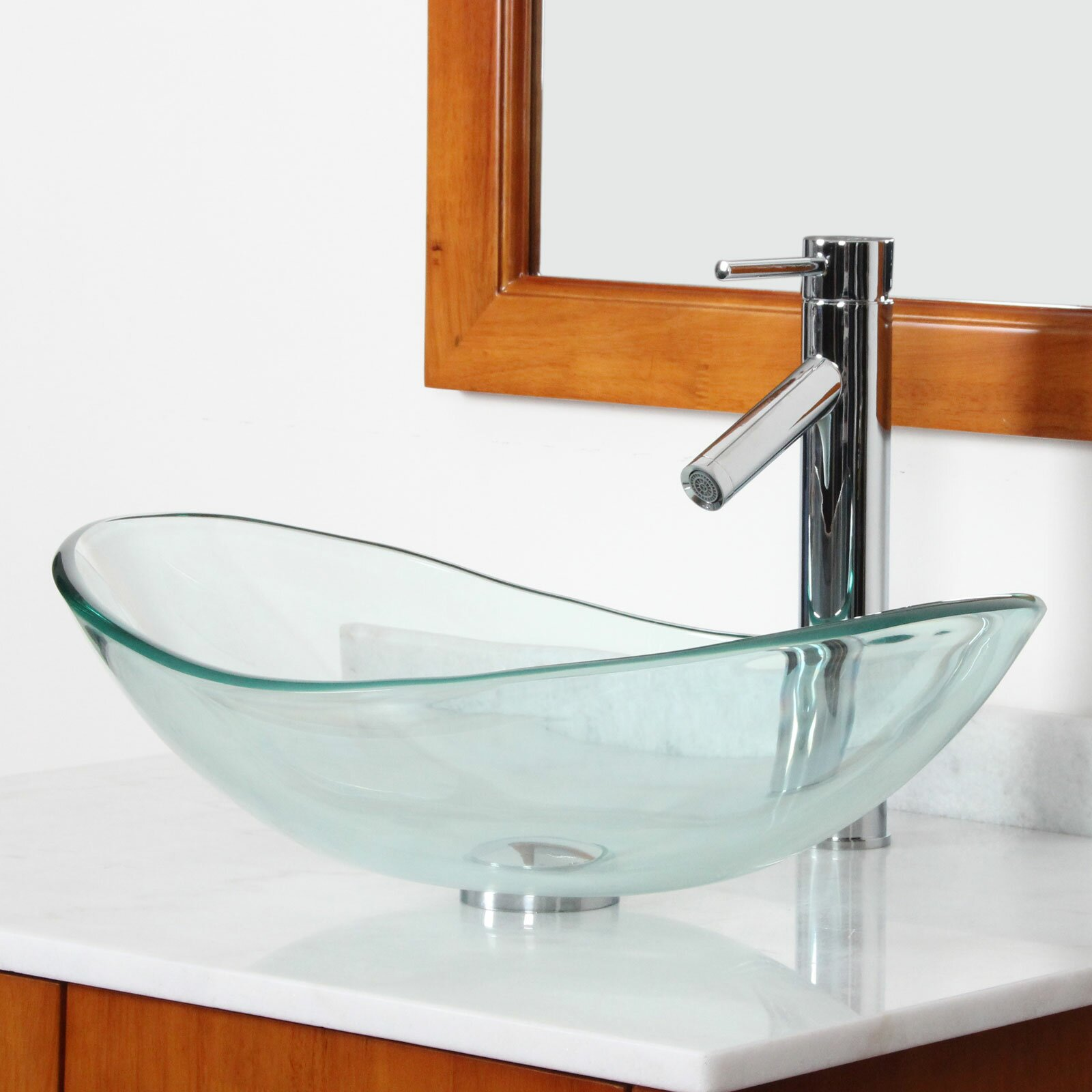 Tempered Glass Vessel Sink : Elite Tempered Glass Boat Shaped Bowl Vessel Bathroom Sink & Reviews ...
