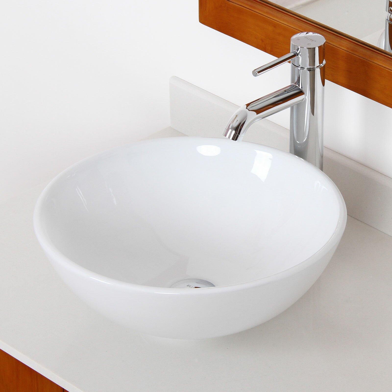 Round Bathroom Sinks: Elite Ceramic Round Bathroom Sink & Reviews