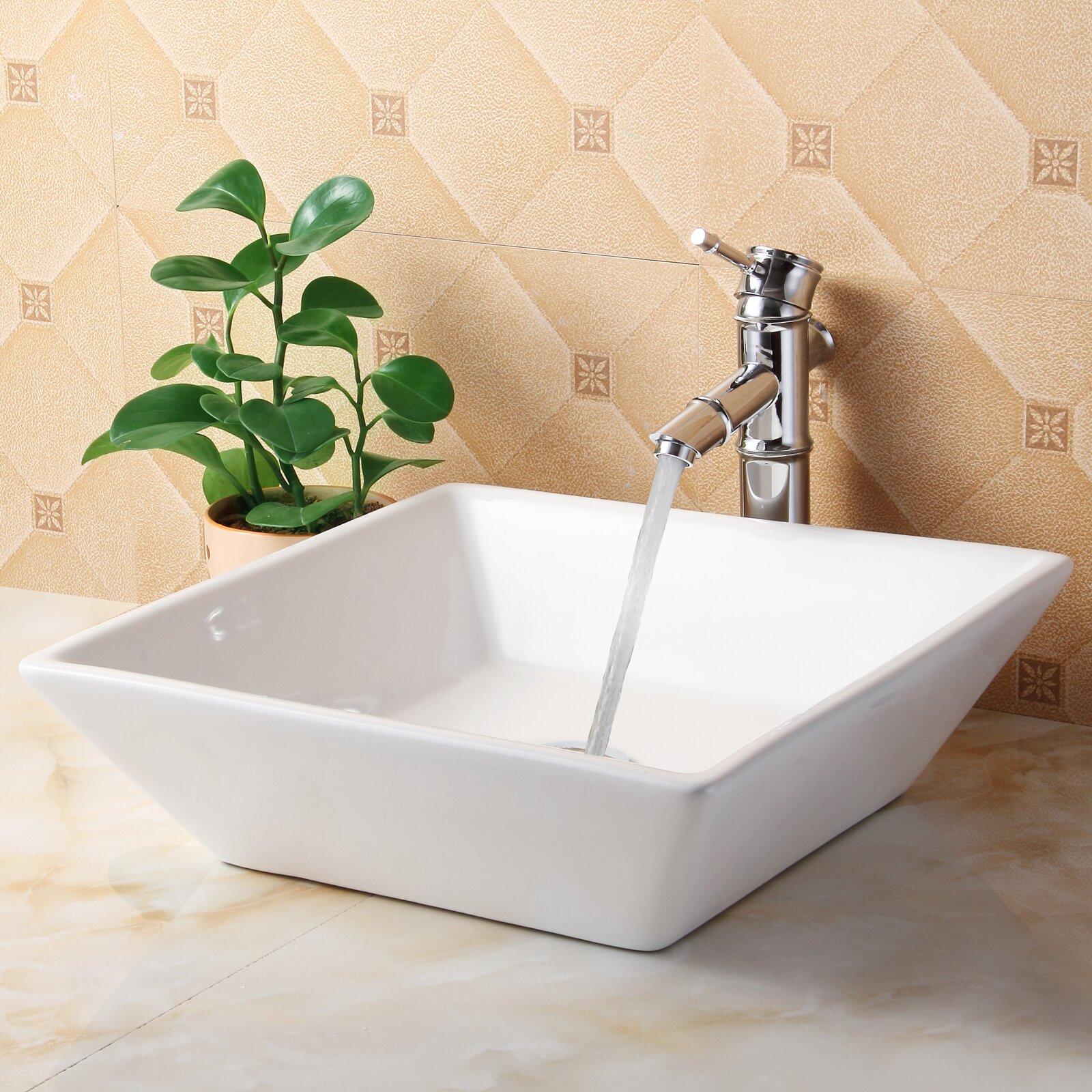 Elite Ceramic Square Bathroom Sink & Reviews