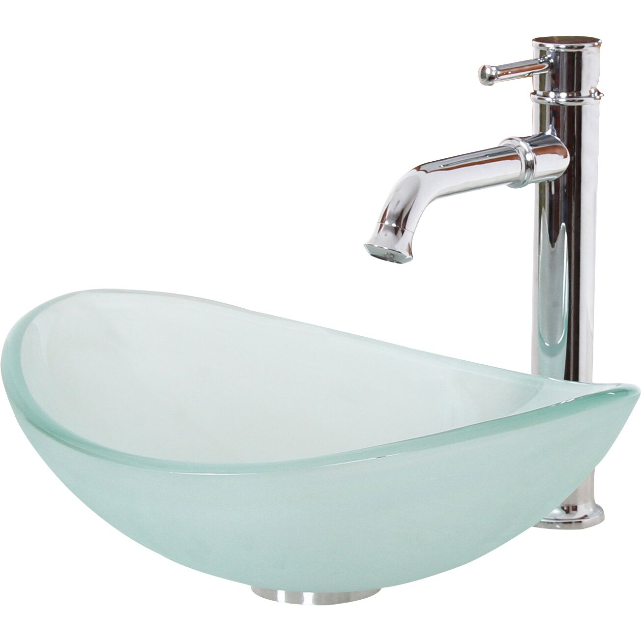 Elite Mini Tempered Glass Boat Shaped Oval Bowl Bottom Vessel Bathroom ...