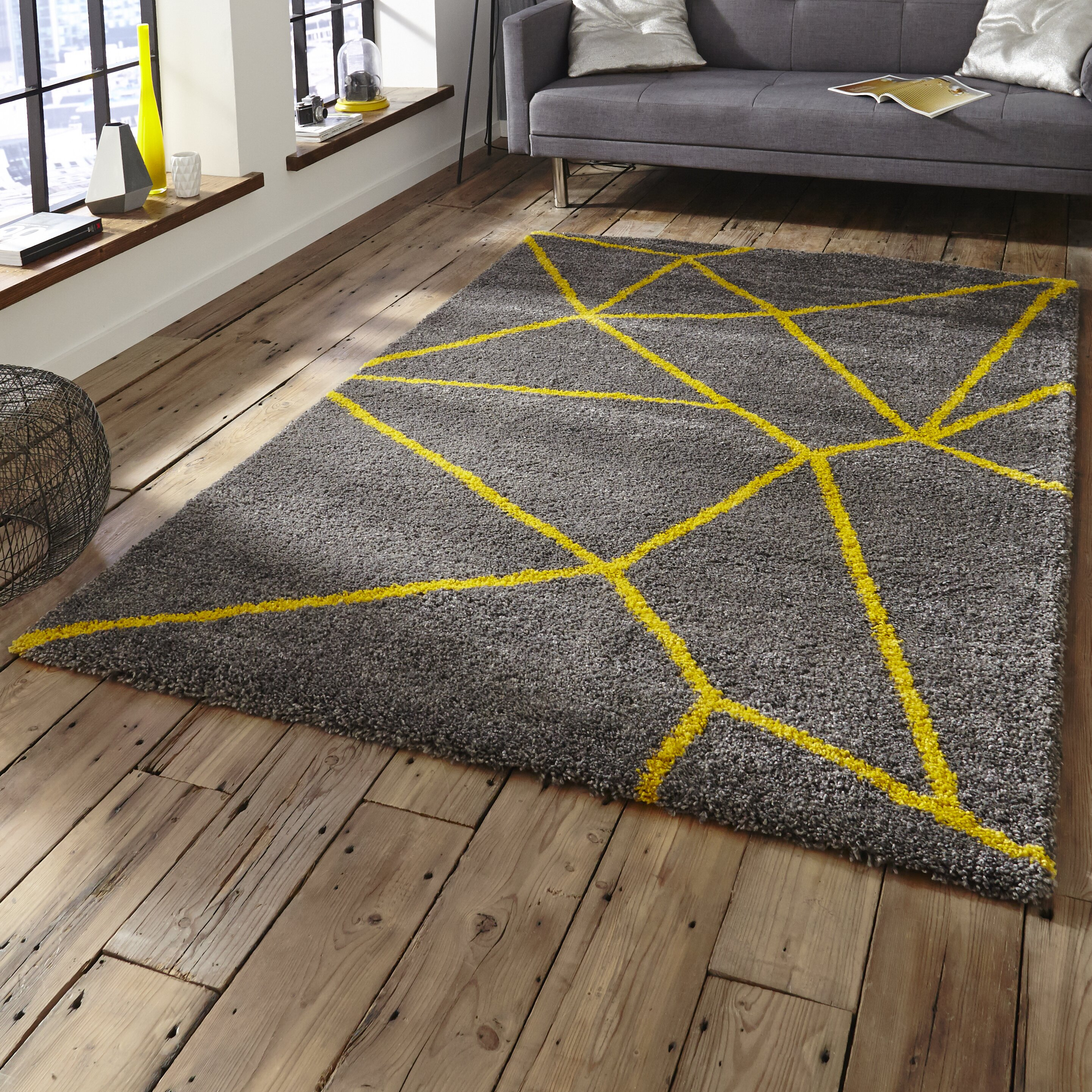 caracella royal nomadic grey yellow area rug reviews wayfair uk. Black Bedroom Furniture Sets. Home Design Ideas