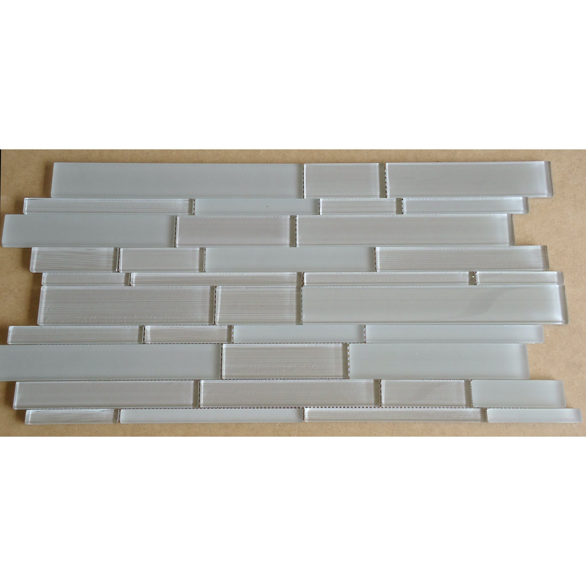 Mulia Tile Studio Random Sized Glass Mosaic Tile in Taupe & Reviews