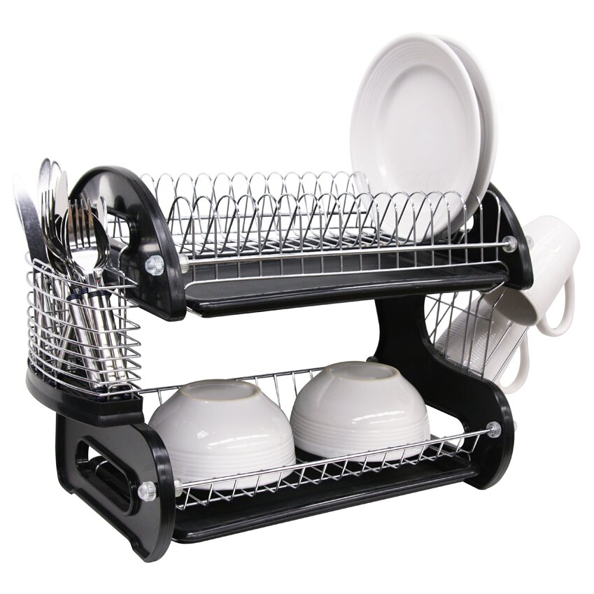 home basics 2 tier plastic dish drainer reviews wayfair. Black Bedroom Furniture Sets. Home Design Ideas