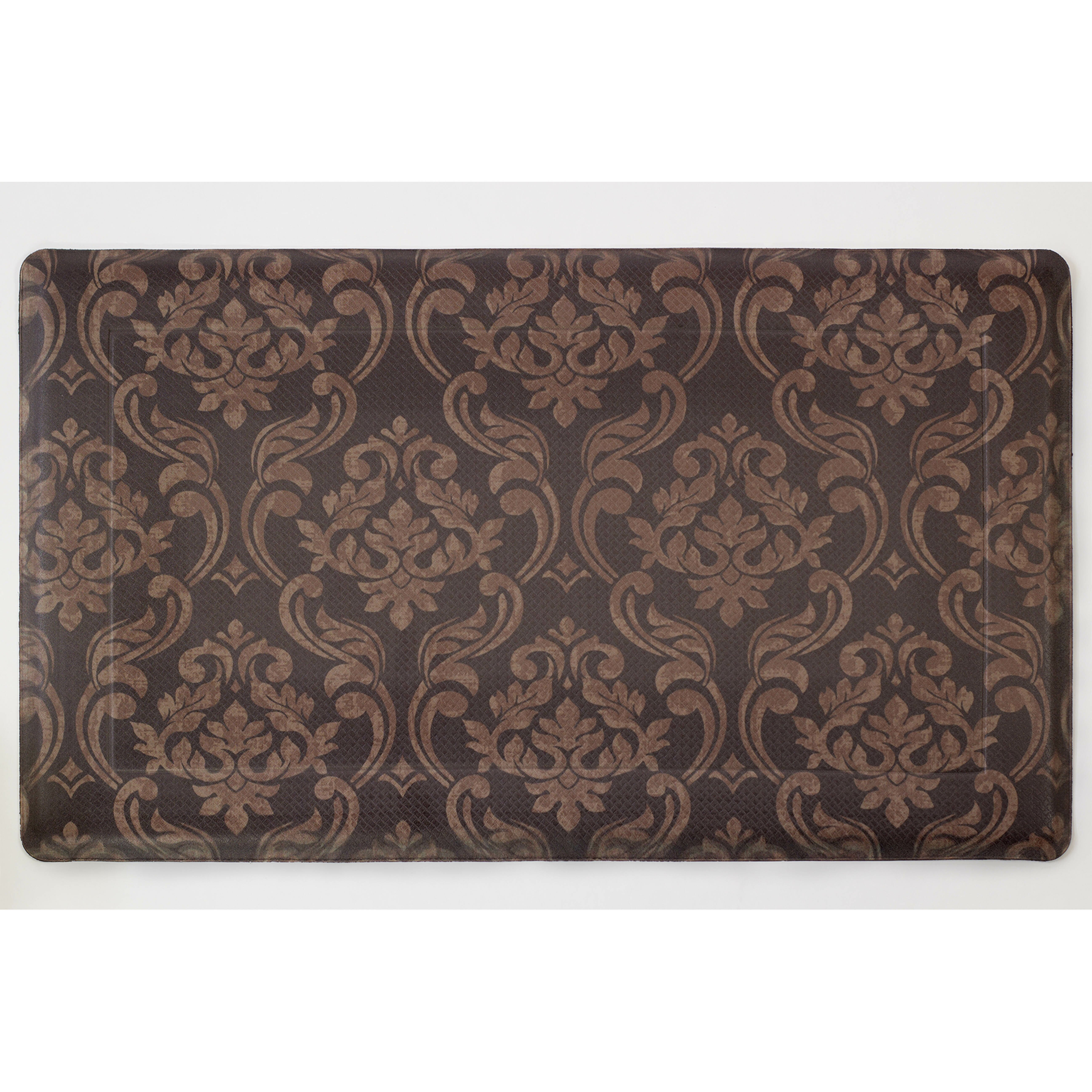 Memory Foam Kitchen Rugs: Chef Gear Chocolate Linen Anti-Fatigue Printed Memory Foam