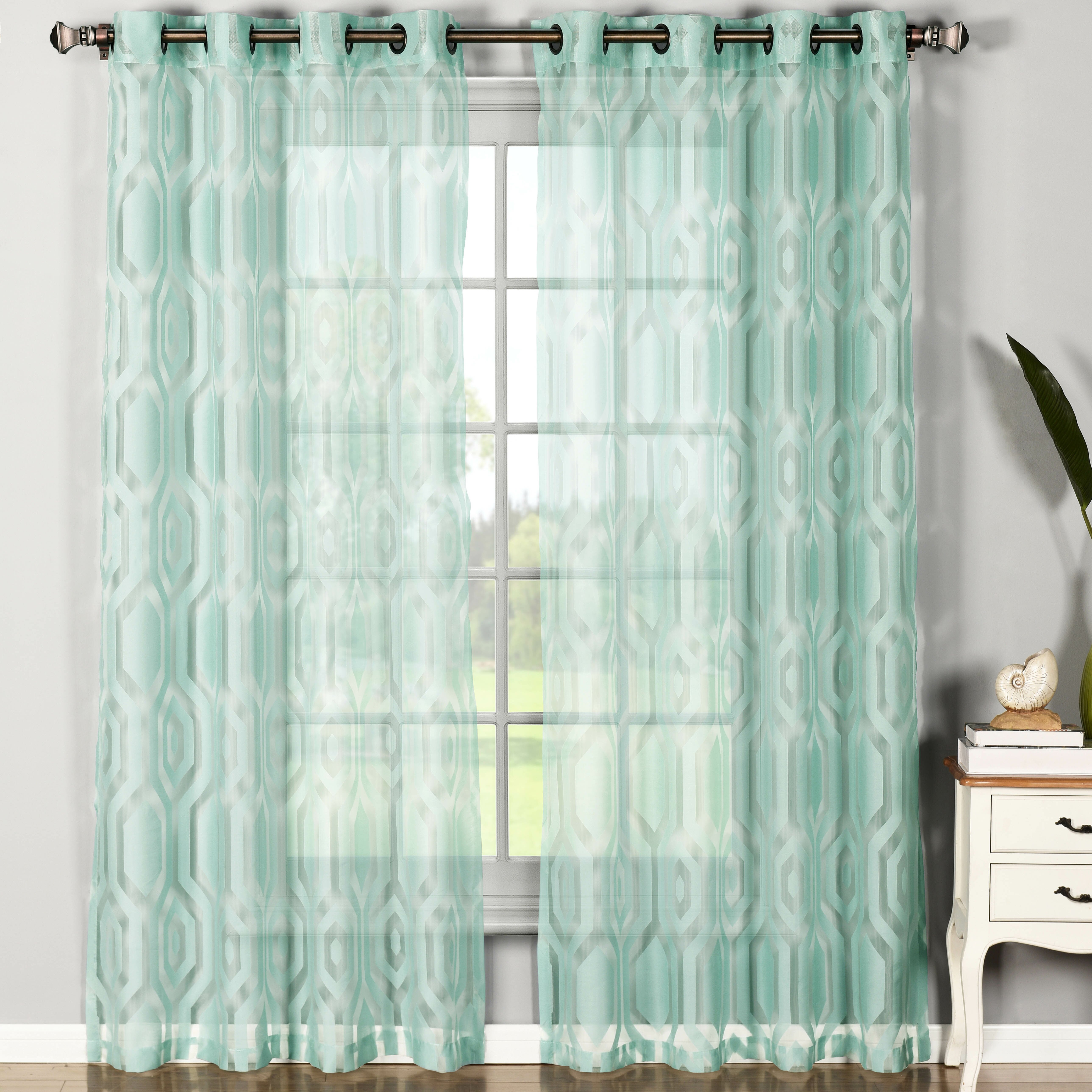 window elements dylan cotton blend sheer extra wide grommet curtain panels reviews wayfair. Black Bedroom Furniture Sets. Home Design Ideas